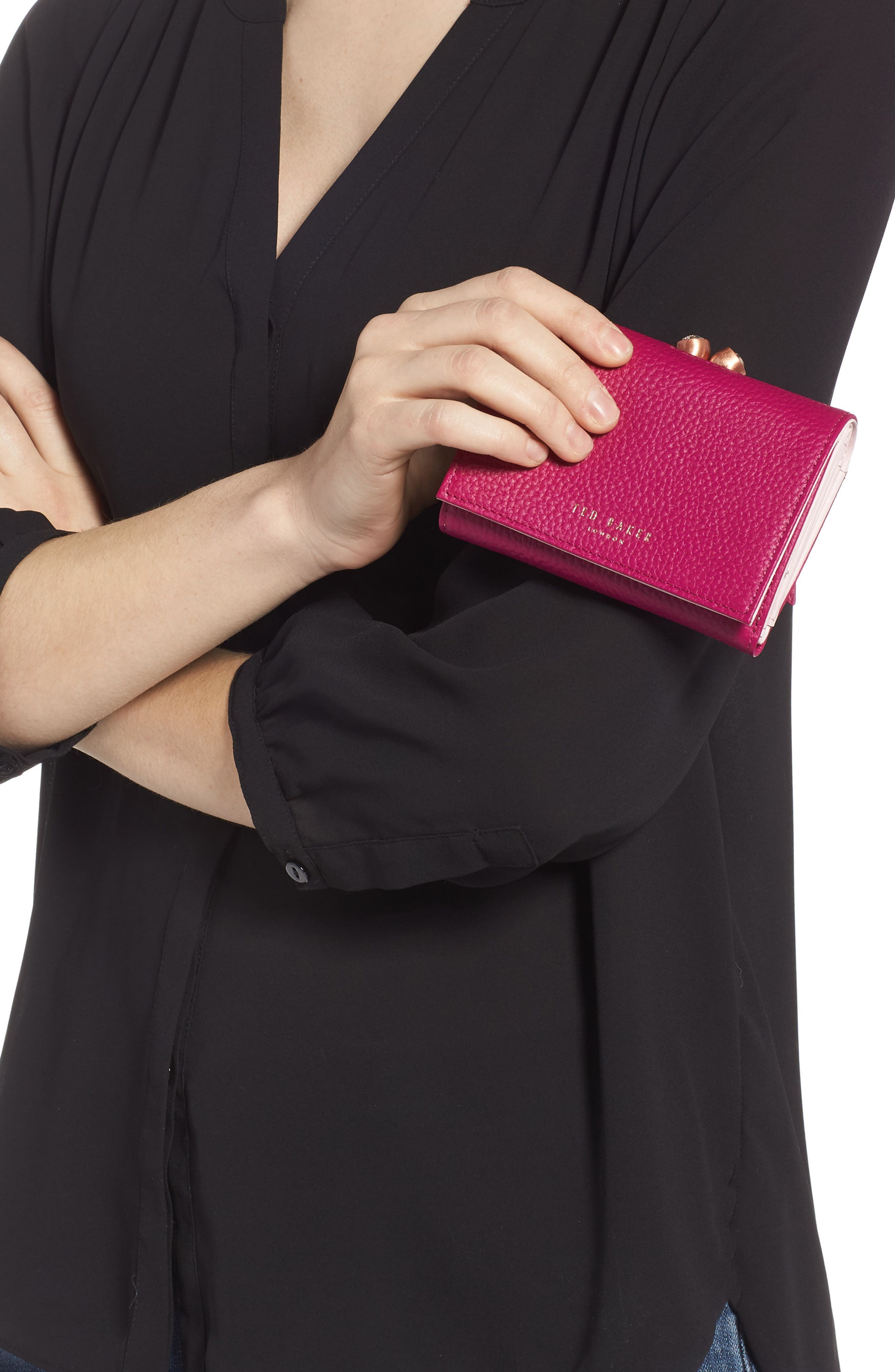 Valery Metallic Leather Bobble Wallet,                             Alternate thumbnail 3, color,                             BRIGHT PINK