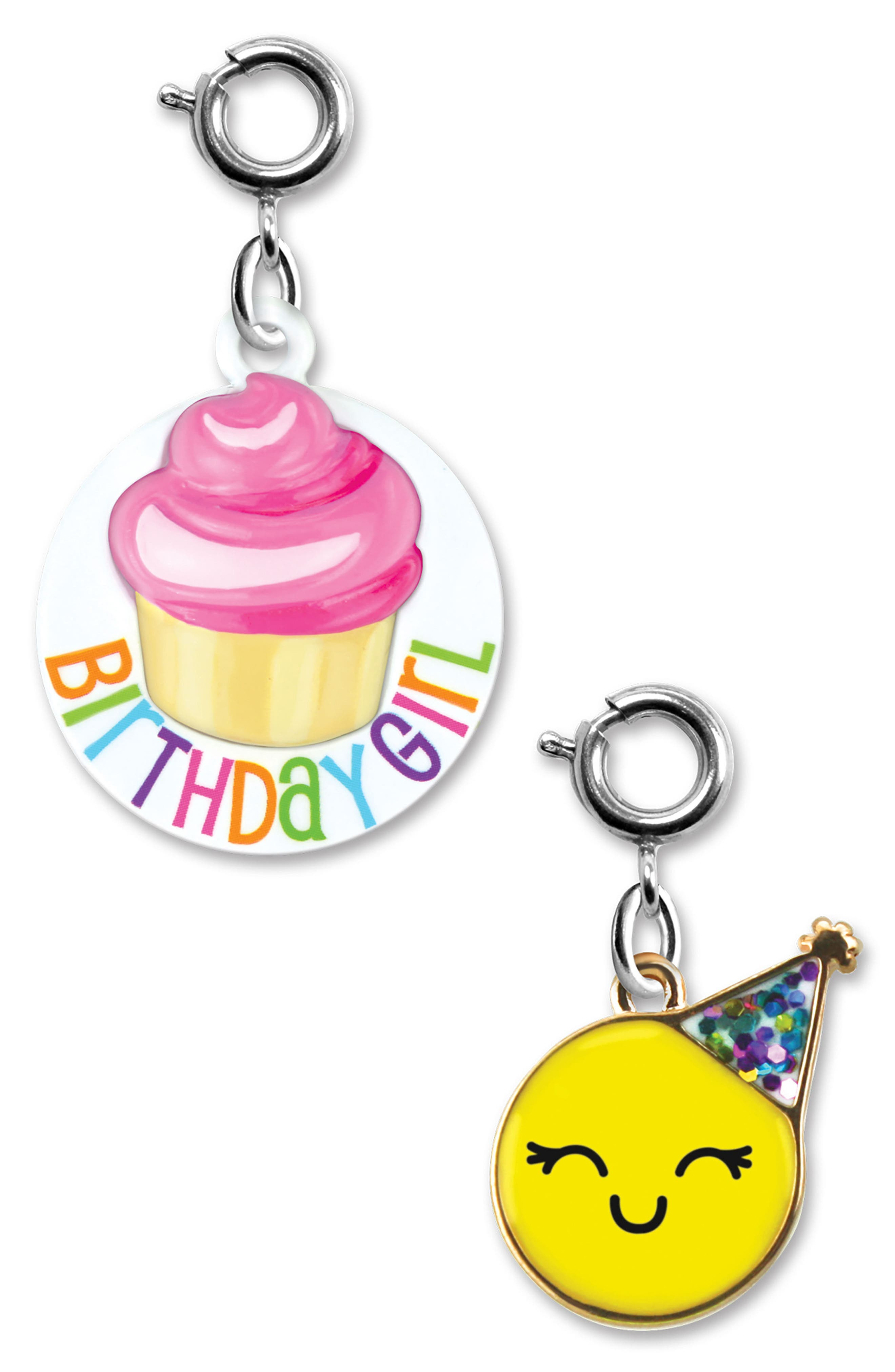 HIGH INTENCITY,                             CHARM IT!<sup>®</sup> 2-Pack Birthday & Emoji Charms,                             Main thumbnail 1, color,                             100