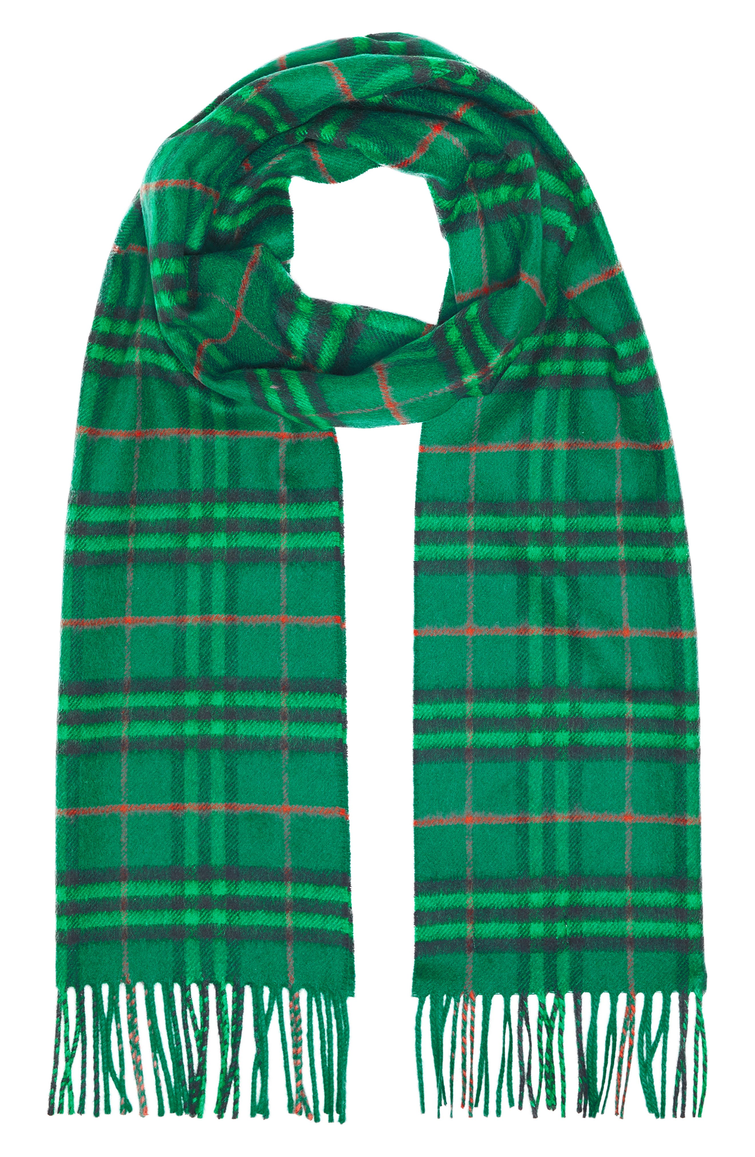 BURBERRY,                             Vintage Check Cashmere Scarf,                             Alternate thumbnail 2, color,                             VIRIDIAN GREEN