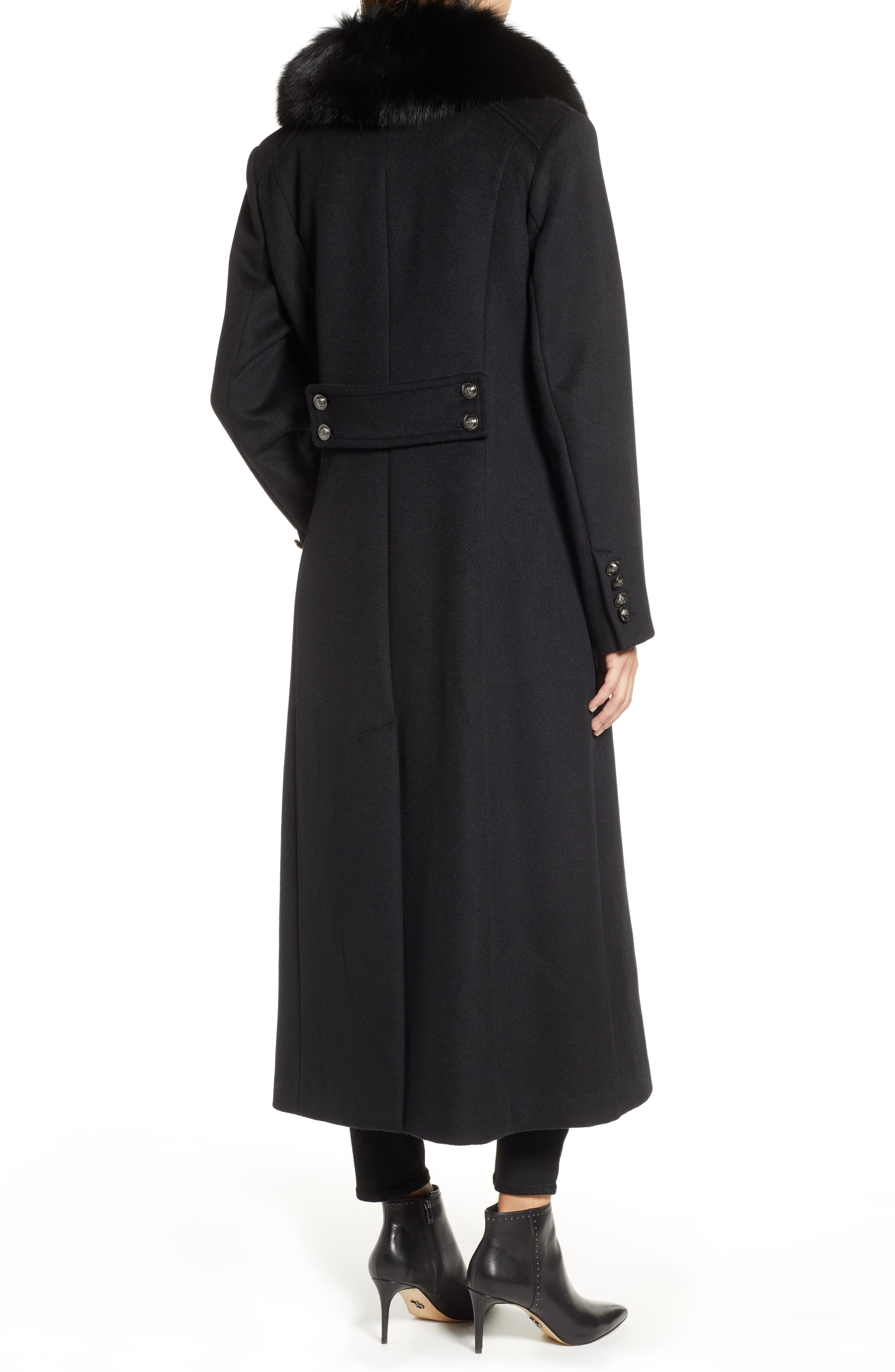 1 MADISON,                             Double Breasted Military Wool Coat with Genuine Fox Fur Shawl,                             Alternate thumbnail 2, color,                             BLACK