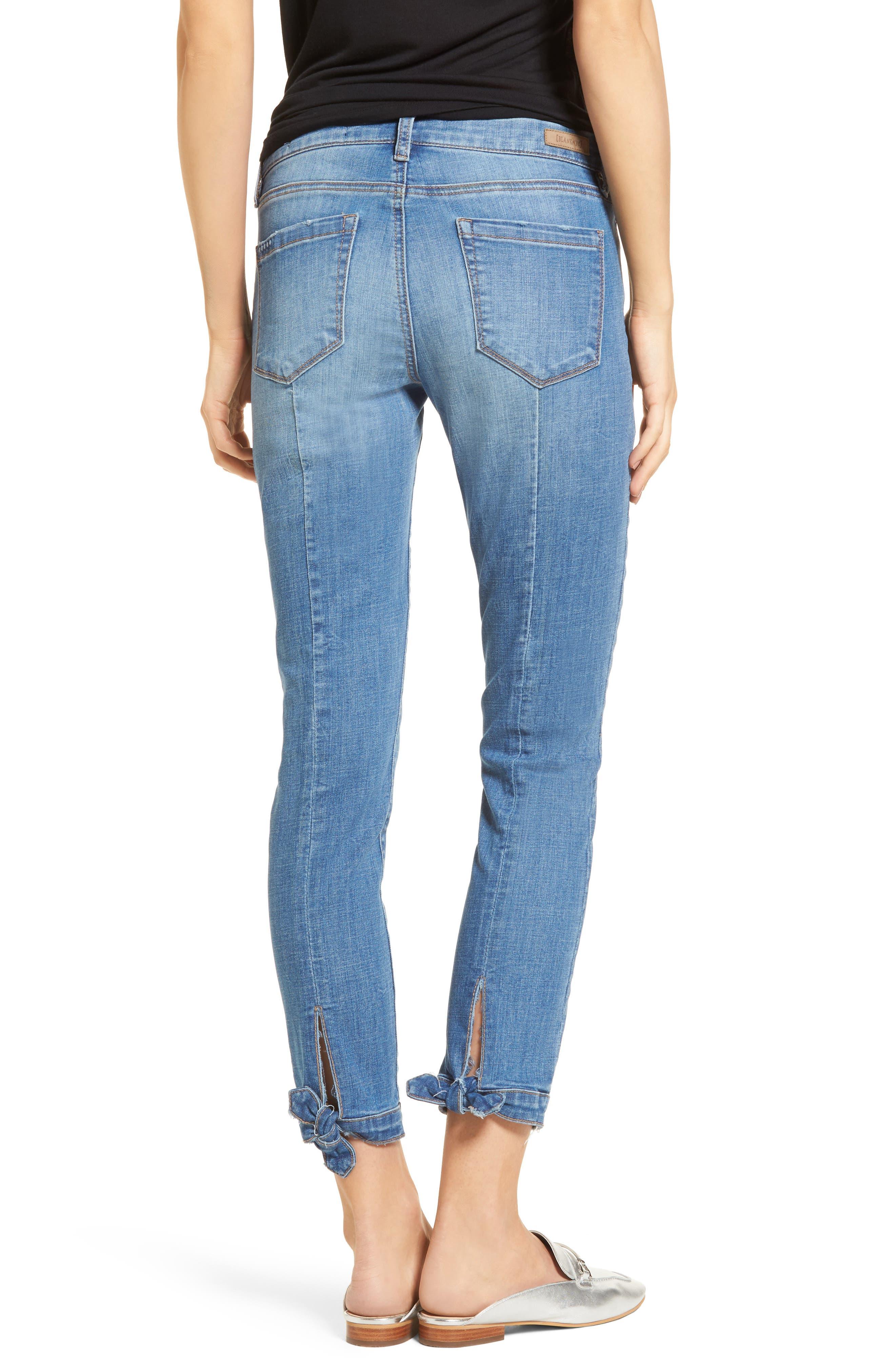 Happy Place Tie Hem Skinny Jeans,                             Alternate thumbnail 2, color,                             400
