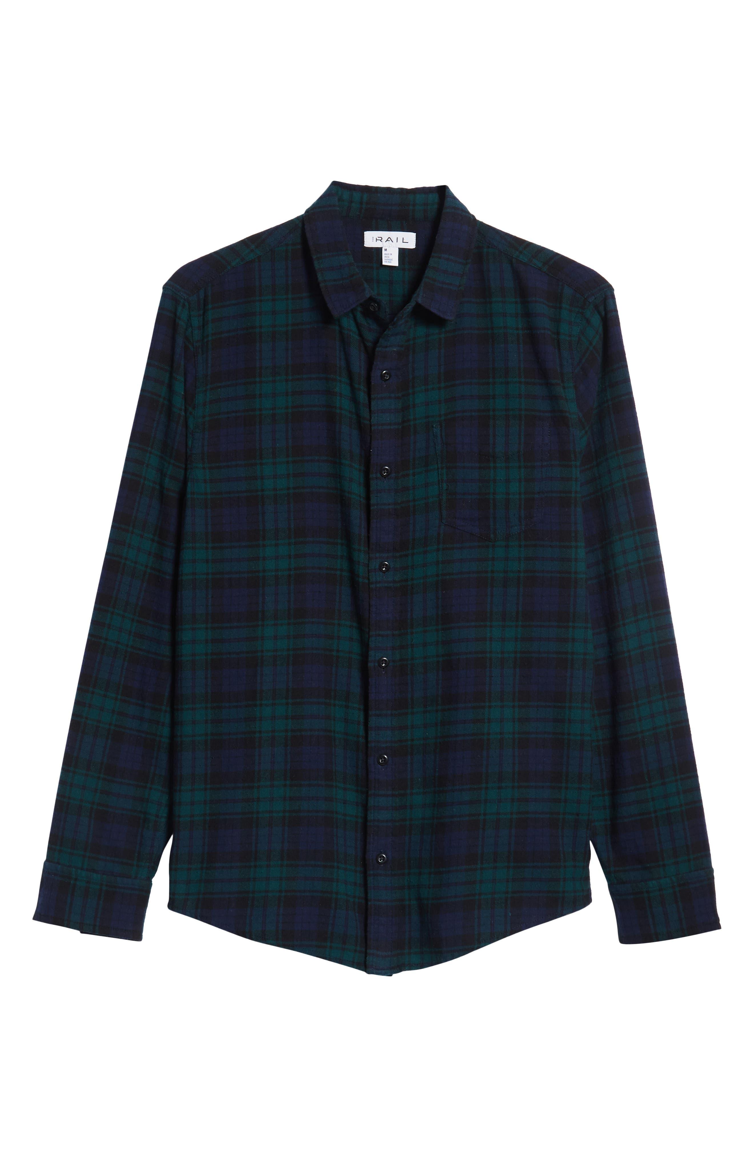 Flannel Shirt,                             Alternate thumbnail 6, color,                             BLUE GREEN CLASSIC PLAID
