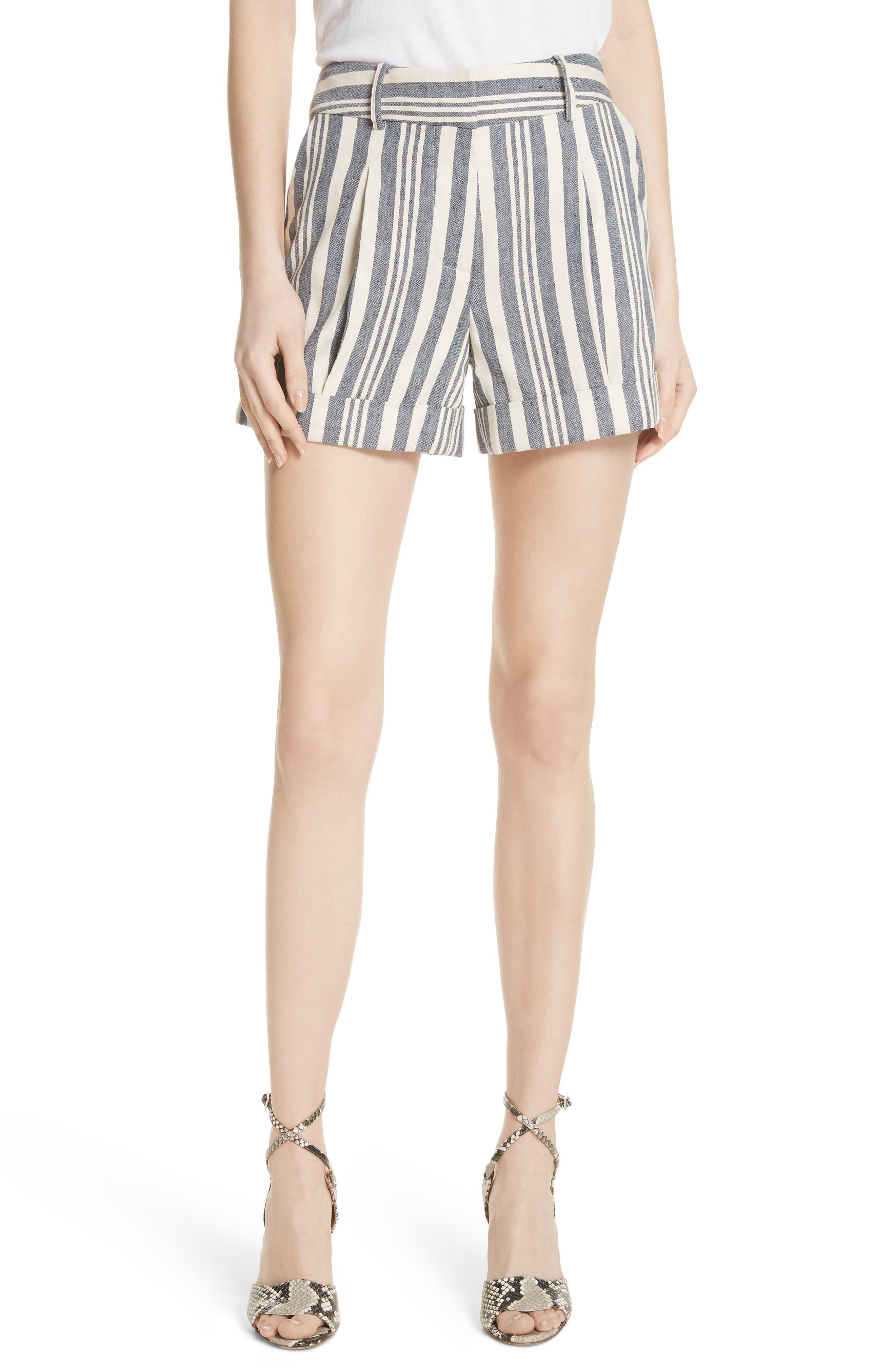Carito Stripe Linen & Cotton Shorts,                         Main,                         color, 413