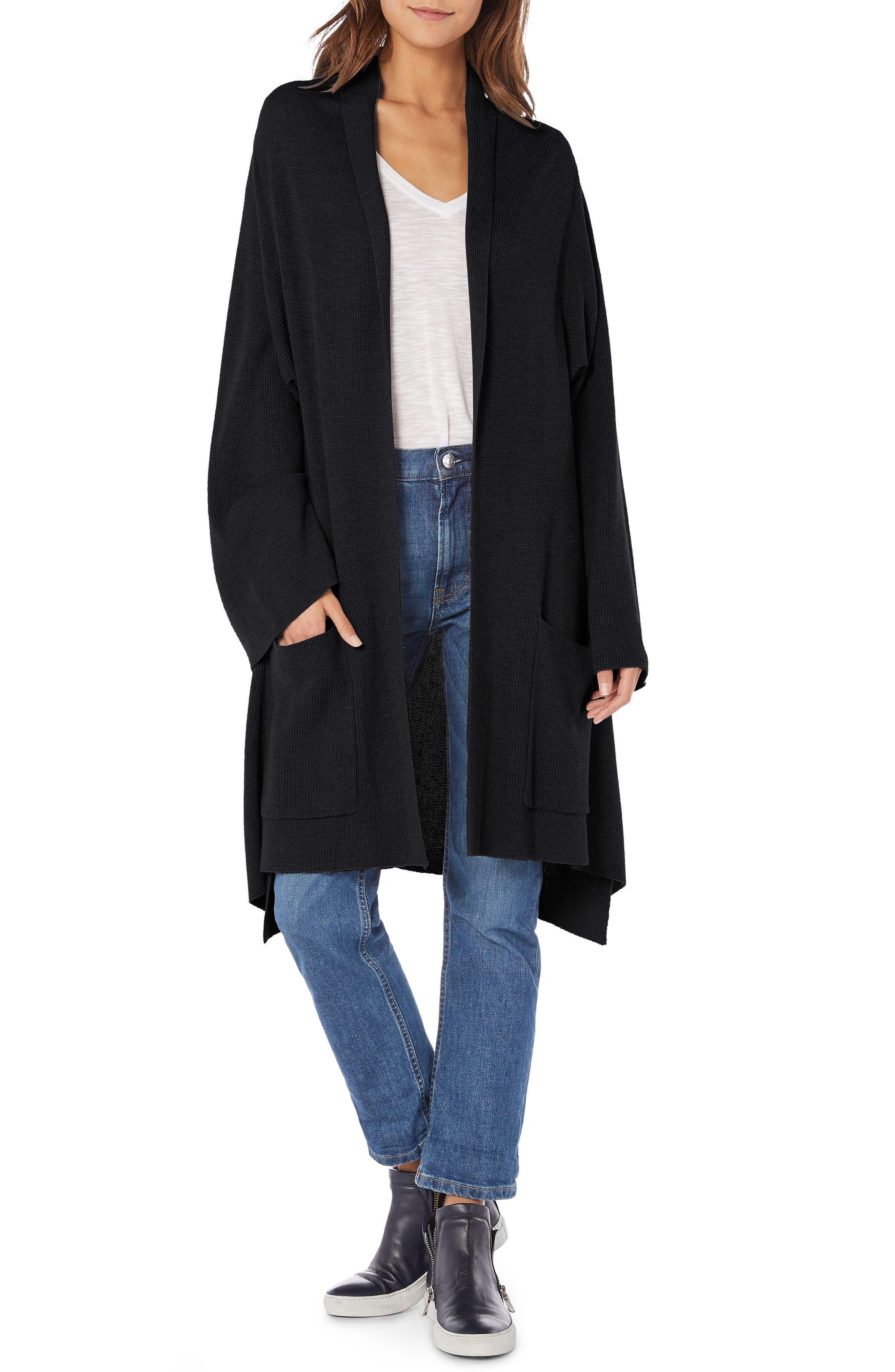 Shawl Collar Cashmere Blend Cardigan,                             Main thumbnail 1, color,                             BLACK