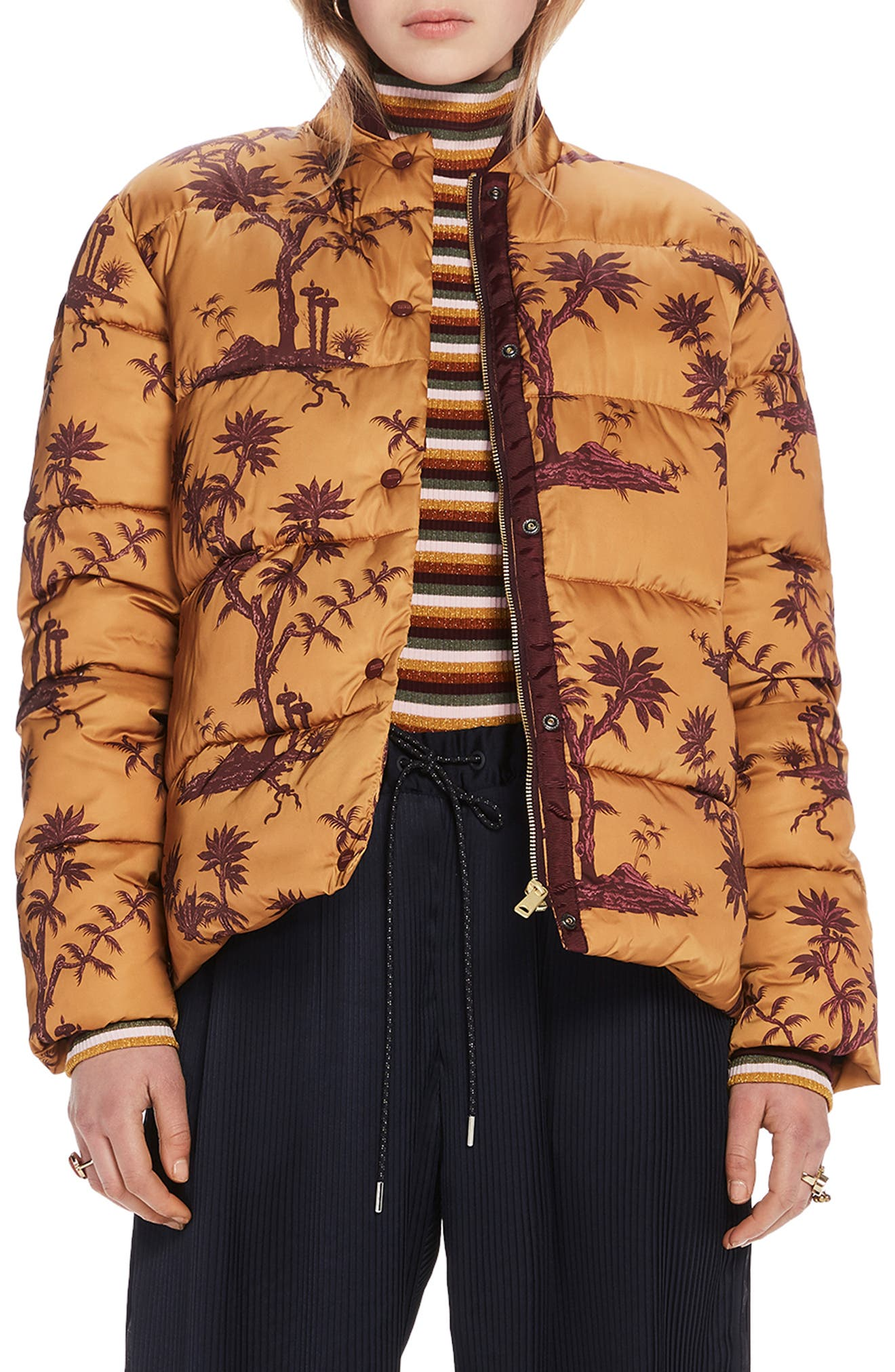 Print Insulated Jacket,                         Main,                         color, MULTI PRINT OCHRE PLANT SCAPE