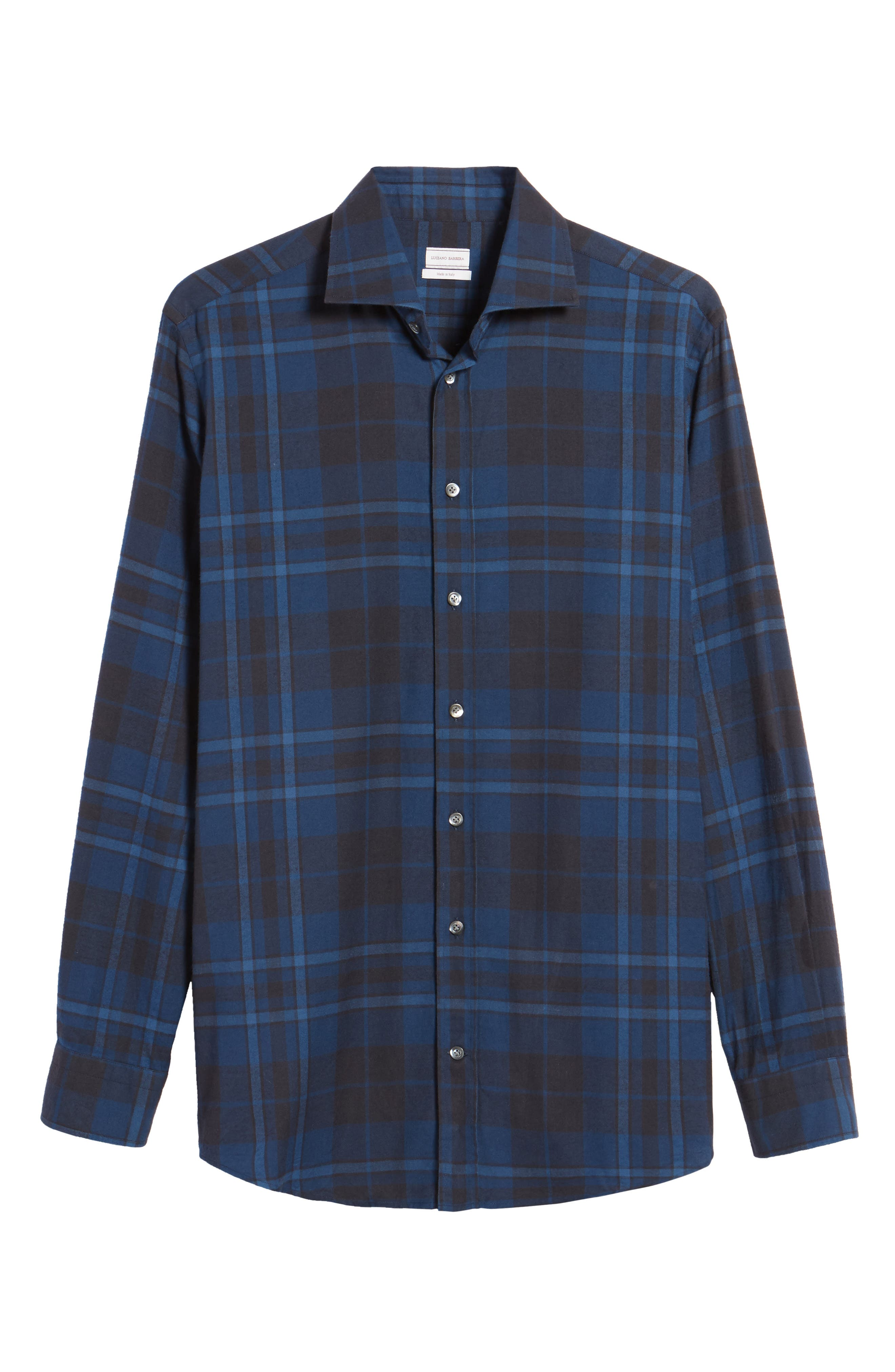 Trim Fit Plaid Sport Shirt,                             Alternate thumbnail 6, color,                             421