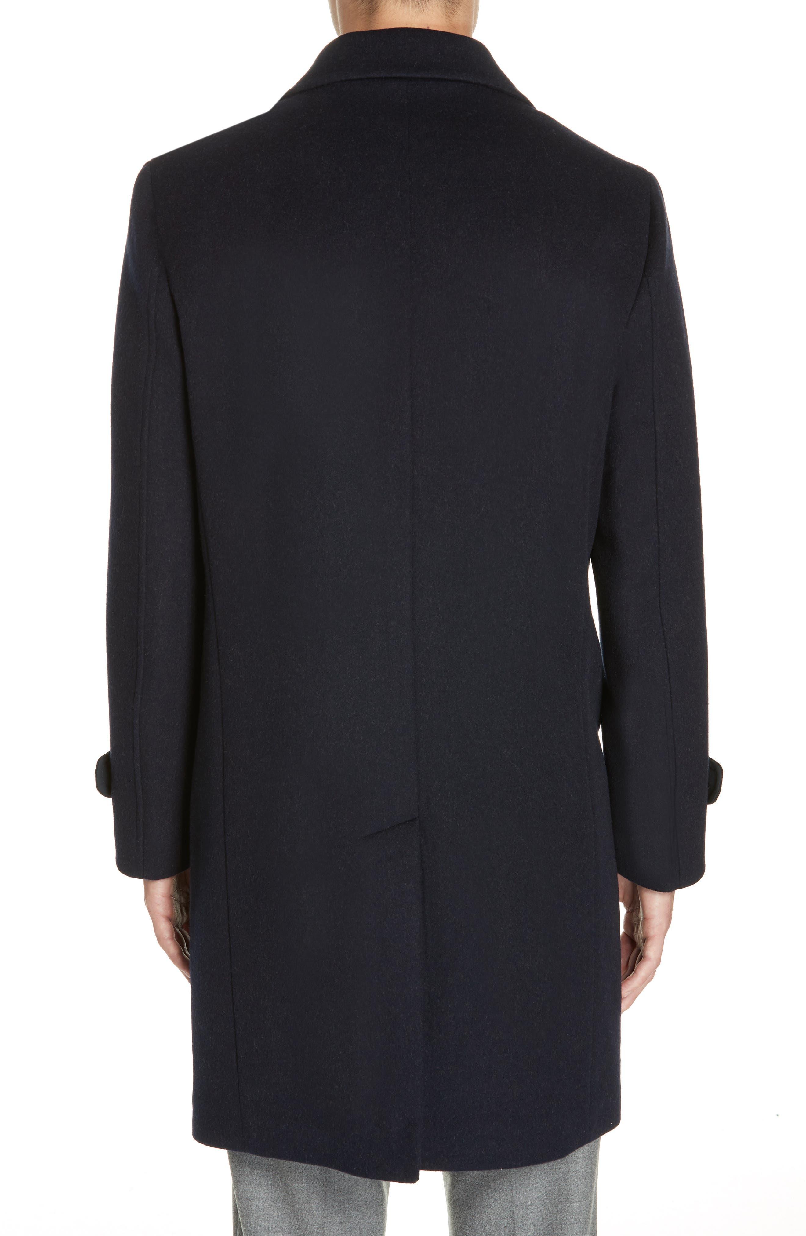 Trim Fit Wool & Cashmere Car Coat,                             Alternate thumbnail 2, color,                             NAVY