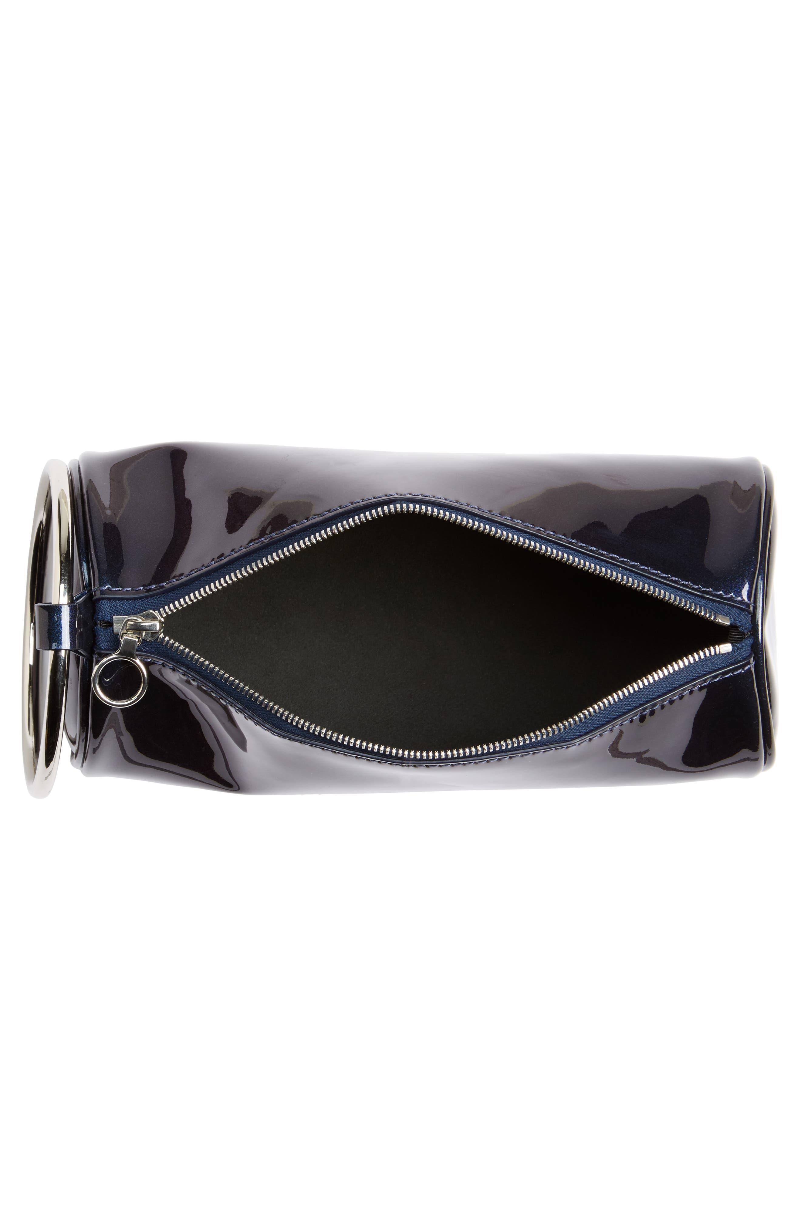 Iridescent Leather Duffel Wristlet Clutch,                             Alternate thumbnail 4, color,