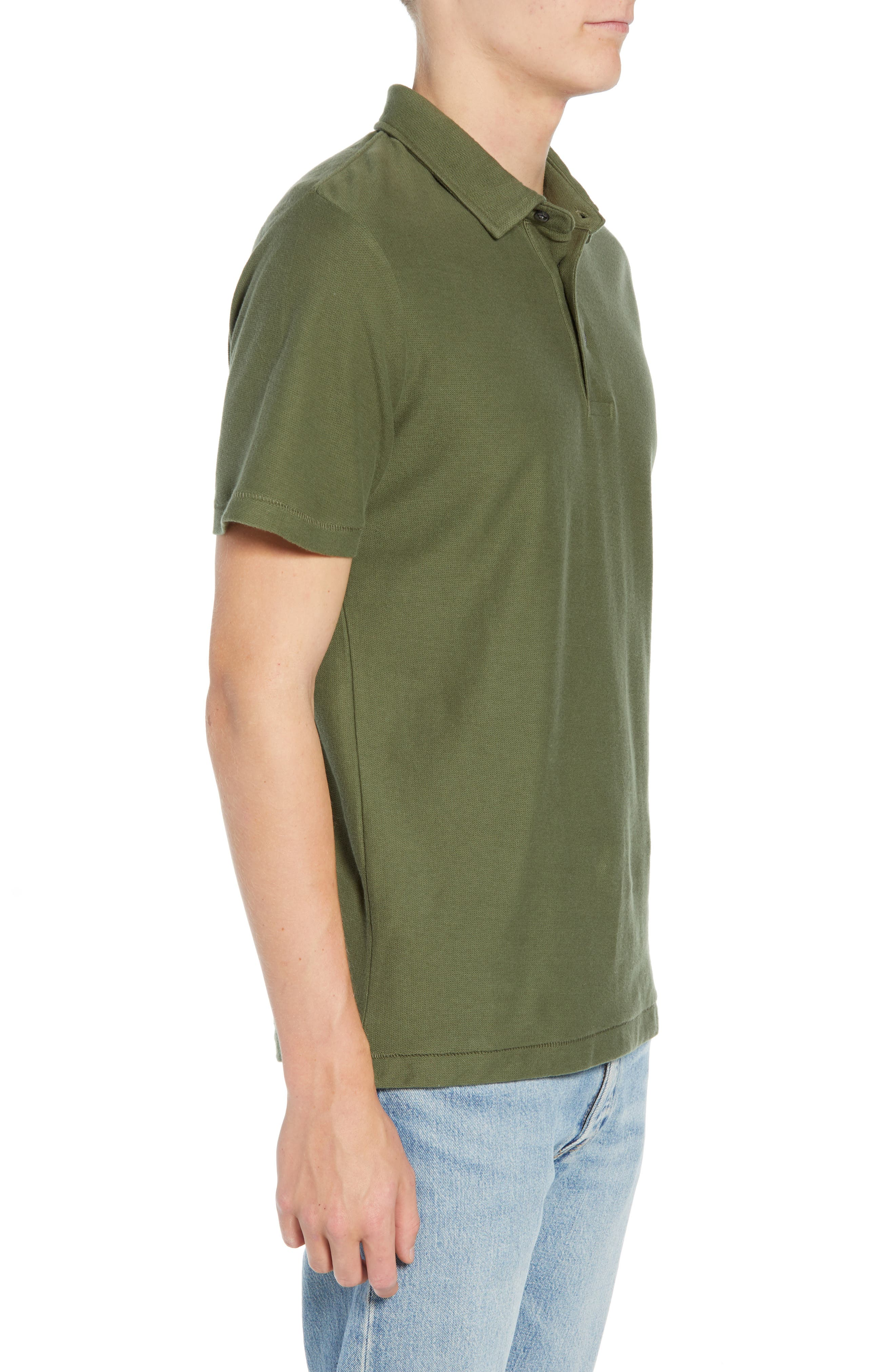 Solid Polo,                             Alternate thumbnail 3, color,                             INFANTRY GREEN