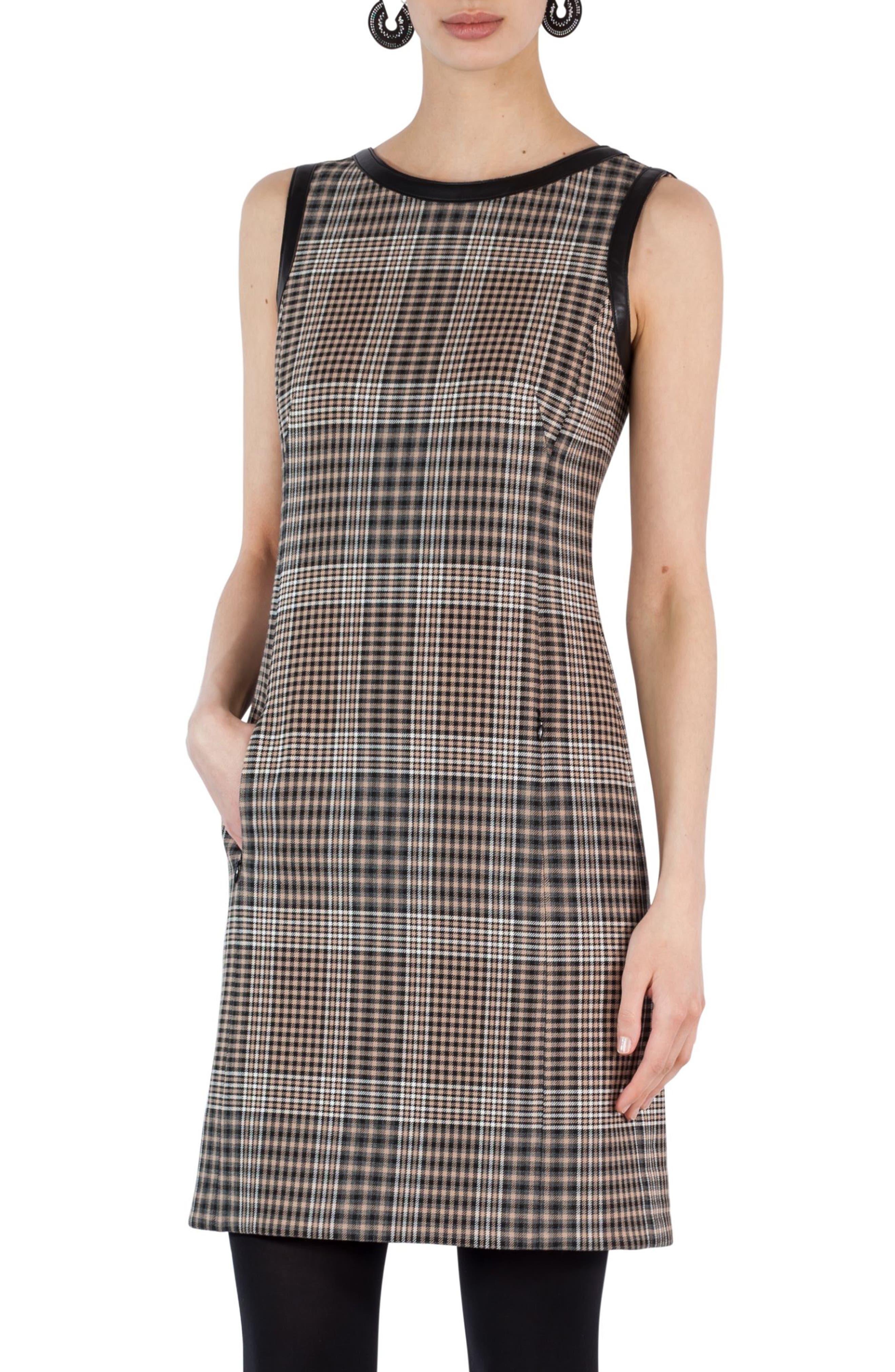 Glen Check Sheath Dress,                             Main thumbnail 1, color,                             200