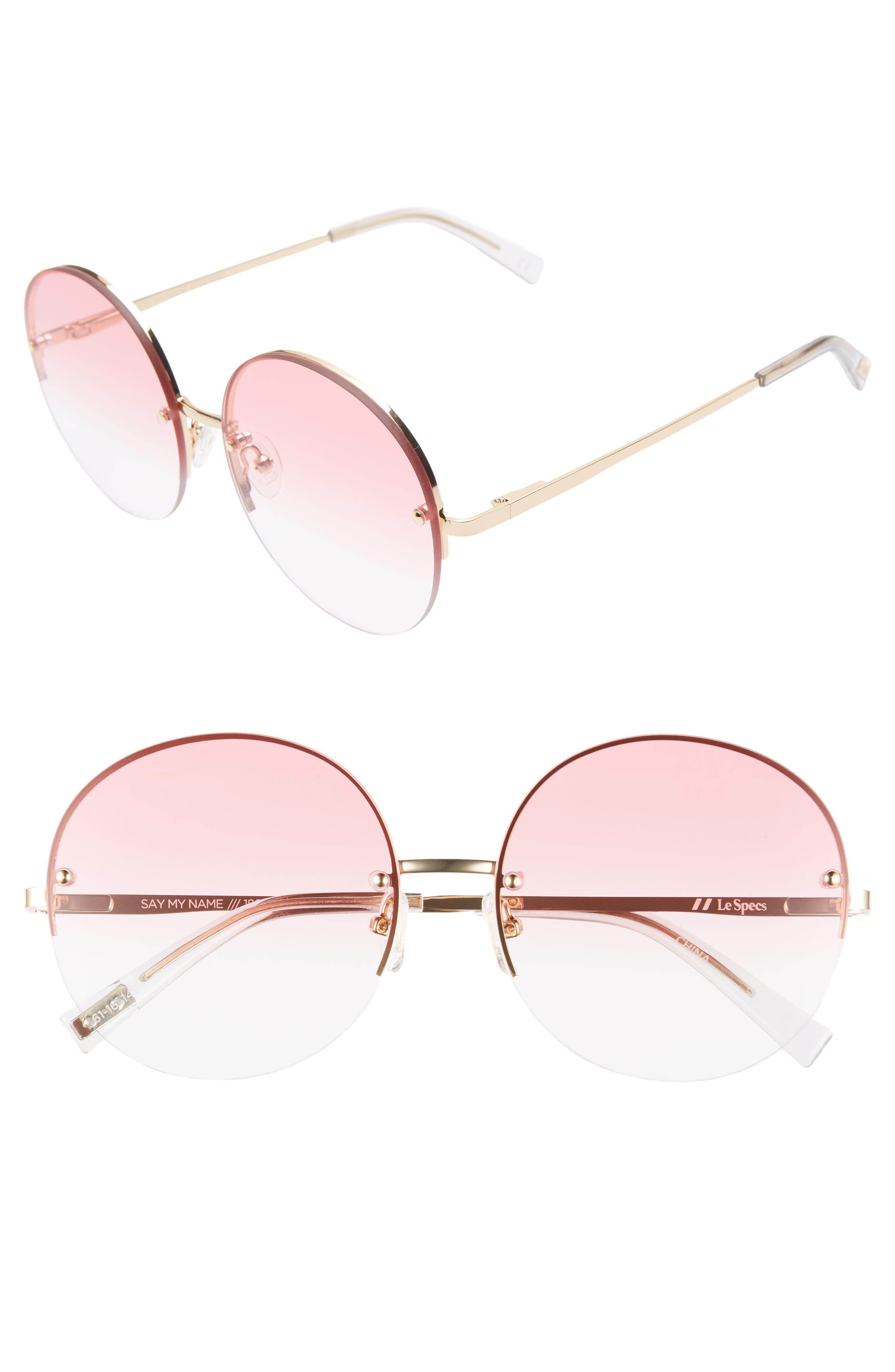 Le Specs Say My Name 61Mm Semi Rimless Round Sunglasses - Bright Gold