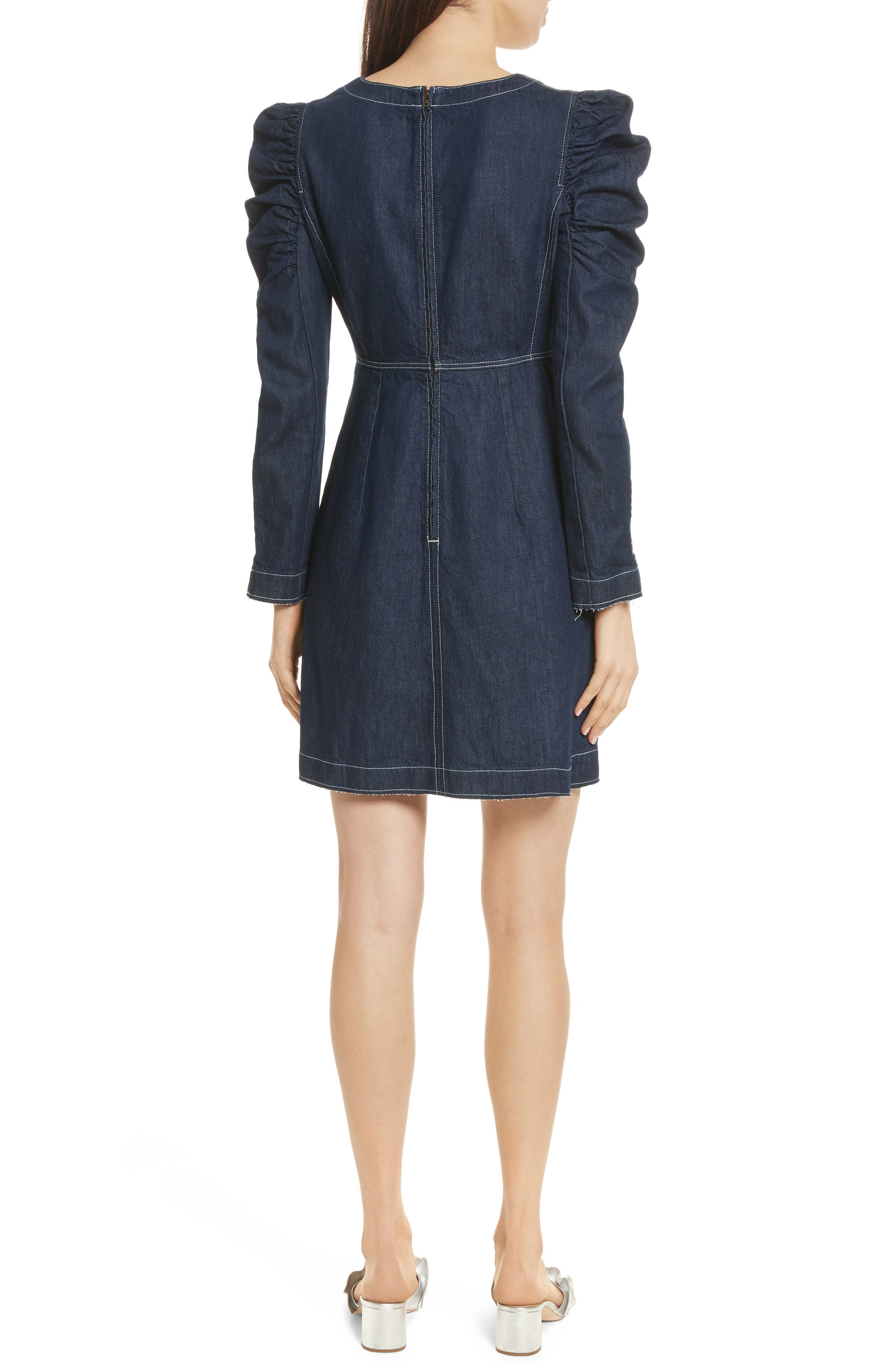 Ruched Sleeve Denim Dress,                             Alternate thumbnail 2, color,