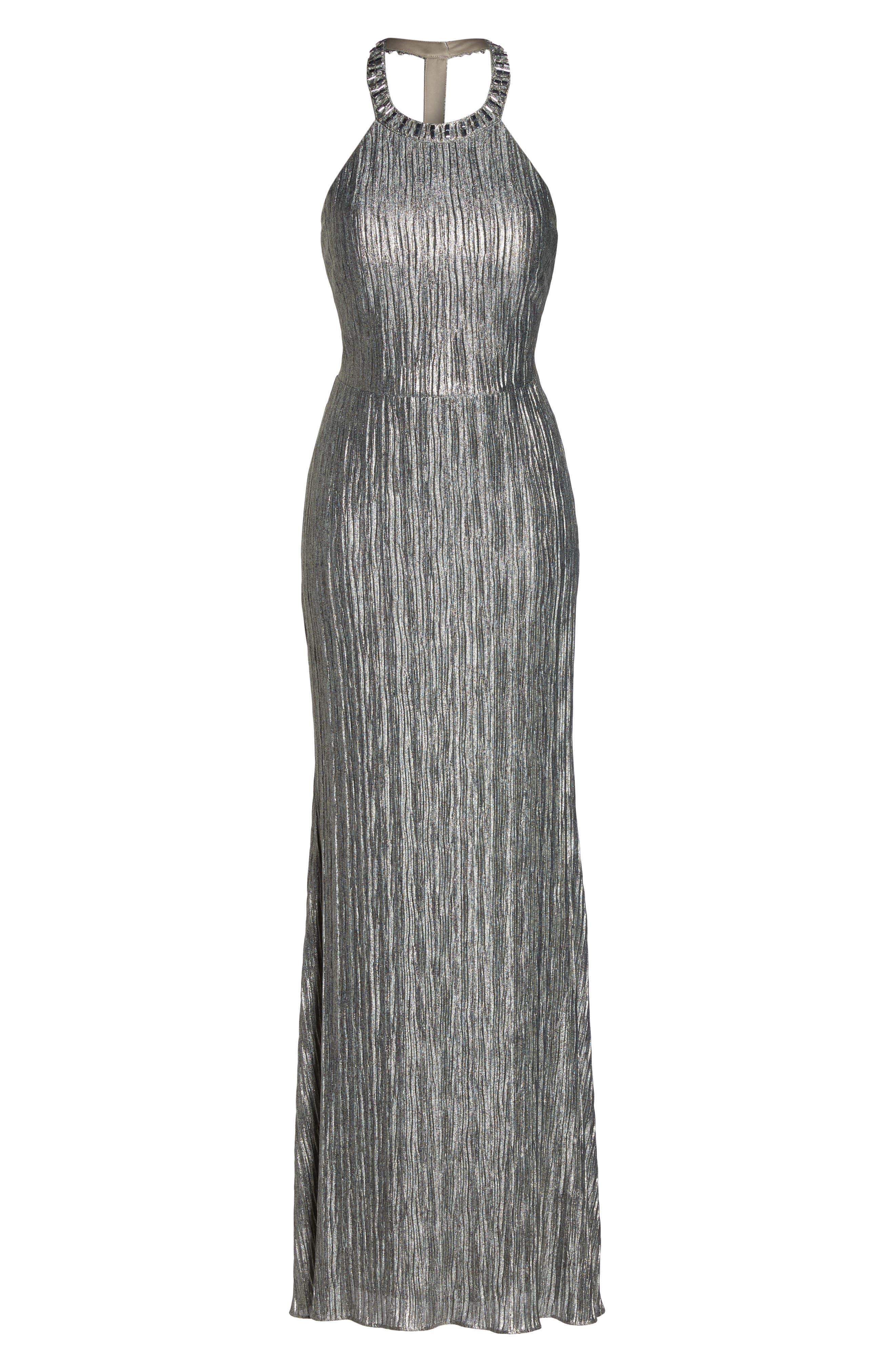 Embellished Crinkle Jersey Halter Gown,                             Alternate thumbnail 6, color,