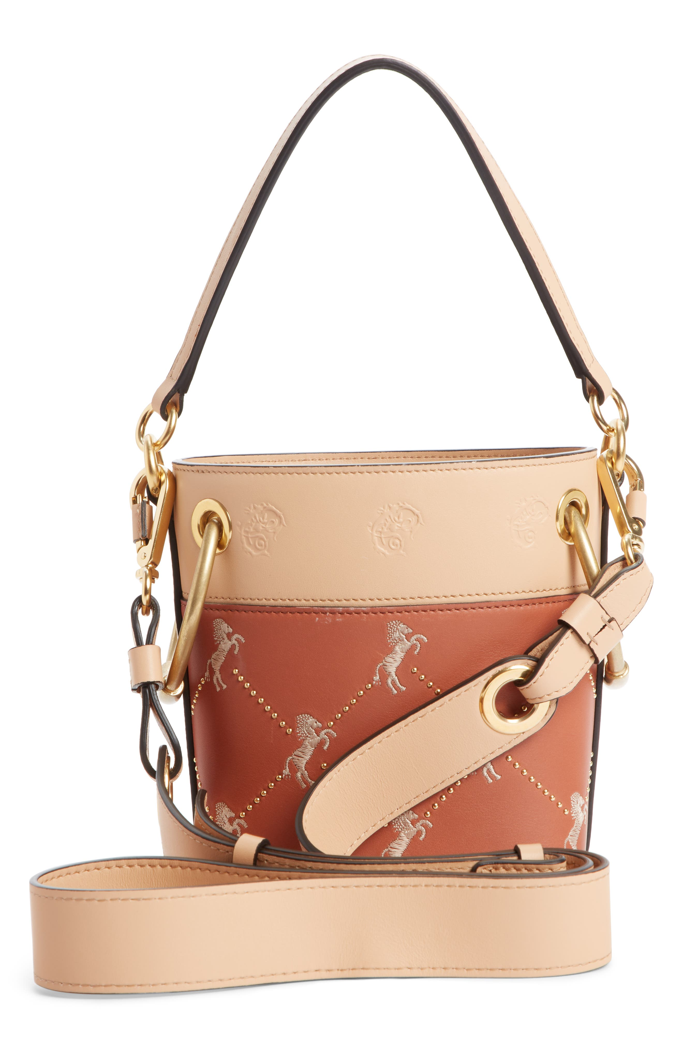Roy Small Embroidered Leather Bucket Bag,                             Alternate thumbnail 4, color,                             CHESTNUT BROWN