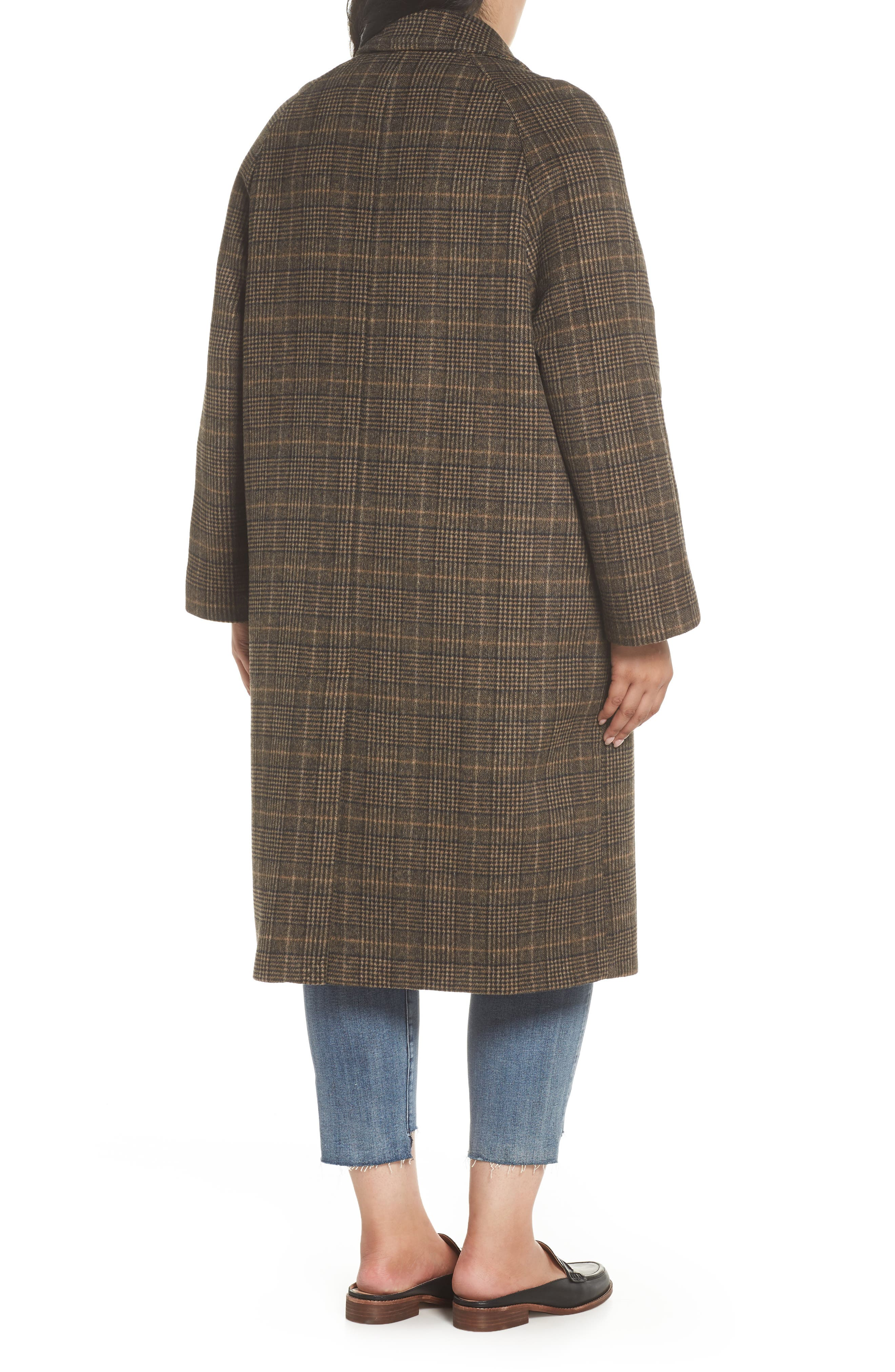Double Face Plaid Wool Blend Coat,                             Alternate thumbnail 2, color,                             218