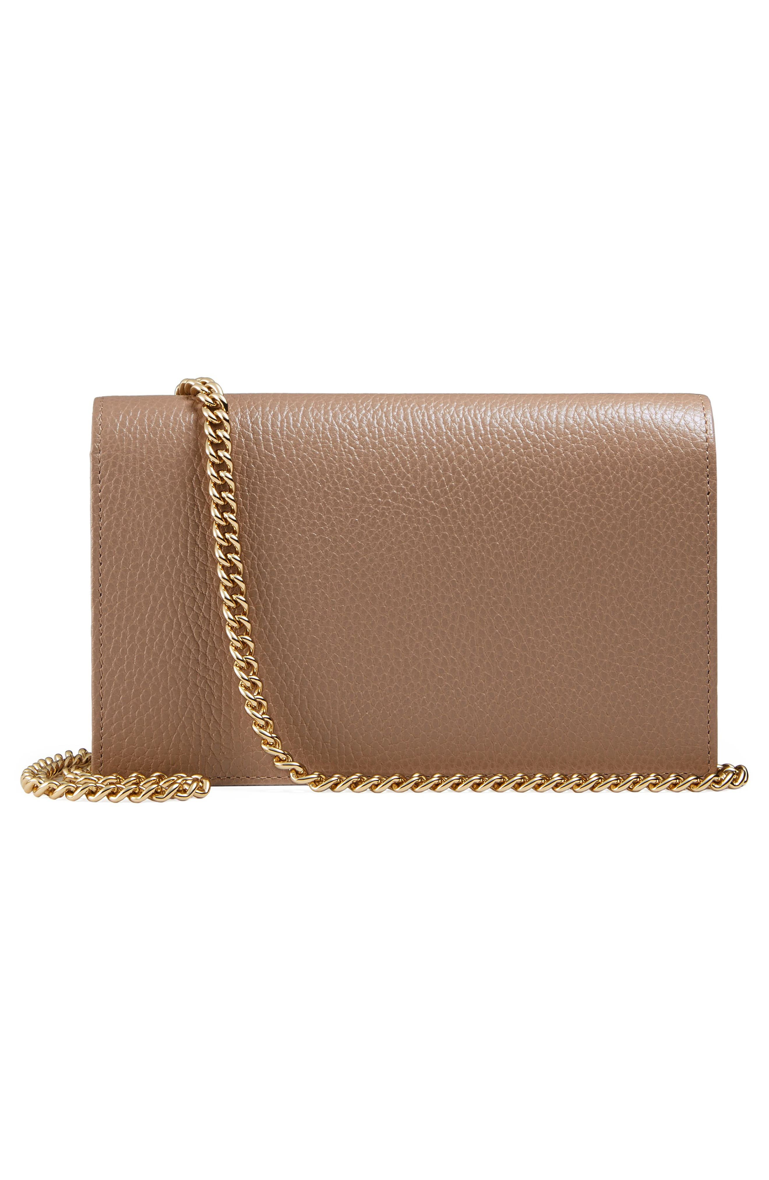 Petite Marmont Leather Wallet on a Chain,                             Alternate thumbnail 16, color,