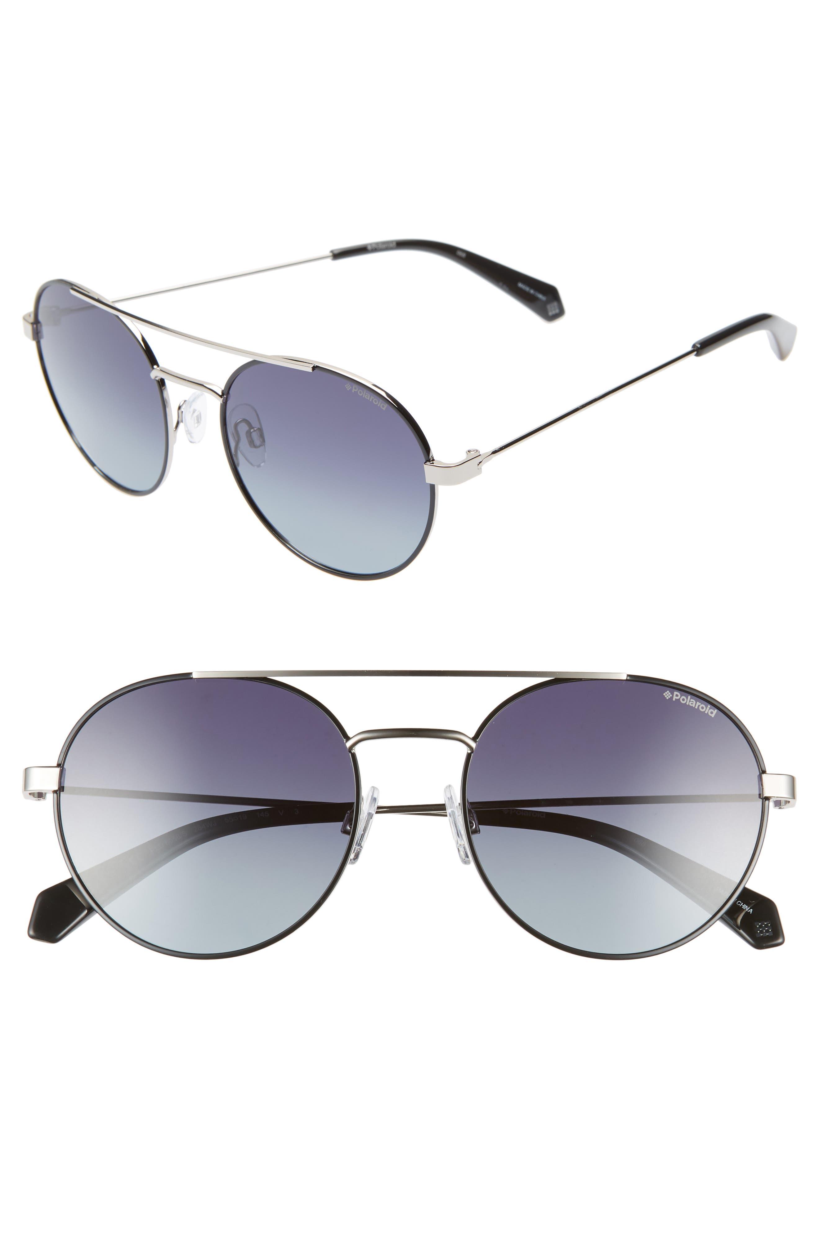POLAROID EYEWEAR Polaroid 55mm Polarized Round Aviator Sunglasses, Main, color, BLACK RUTHENIUM