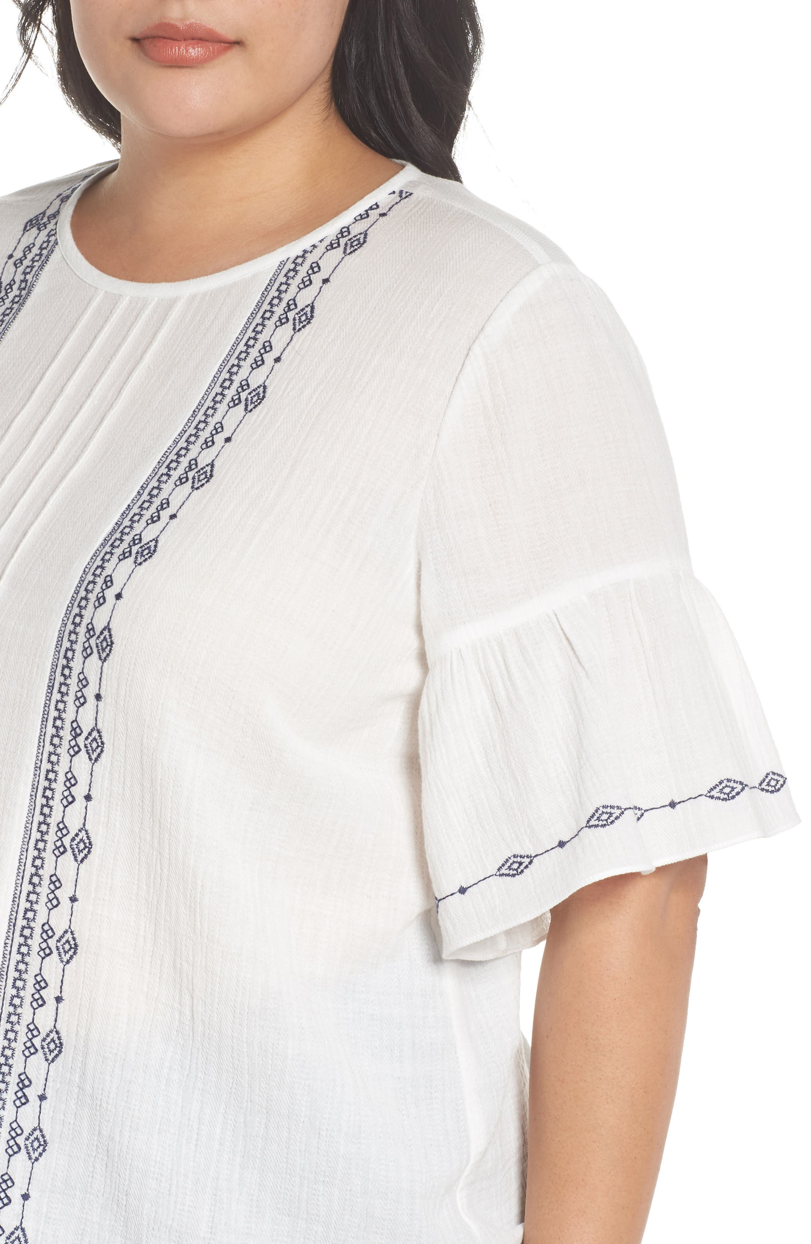 Ruffle Sleeve Embroidered Crinkle Cotton Top,                             Alternate thumbnail 4, color,                             ULTRA WHIT
