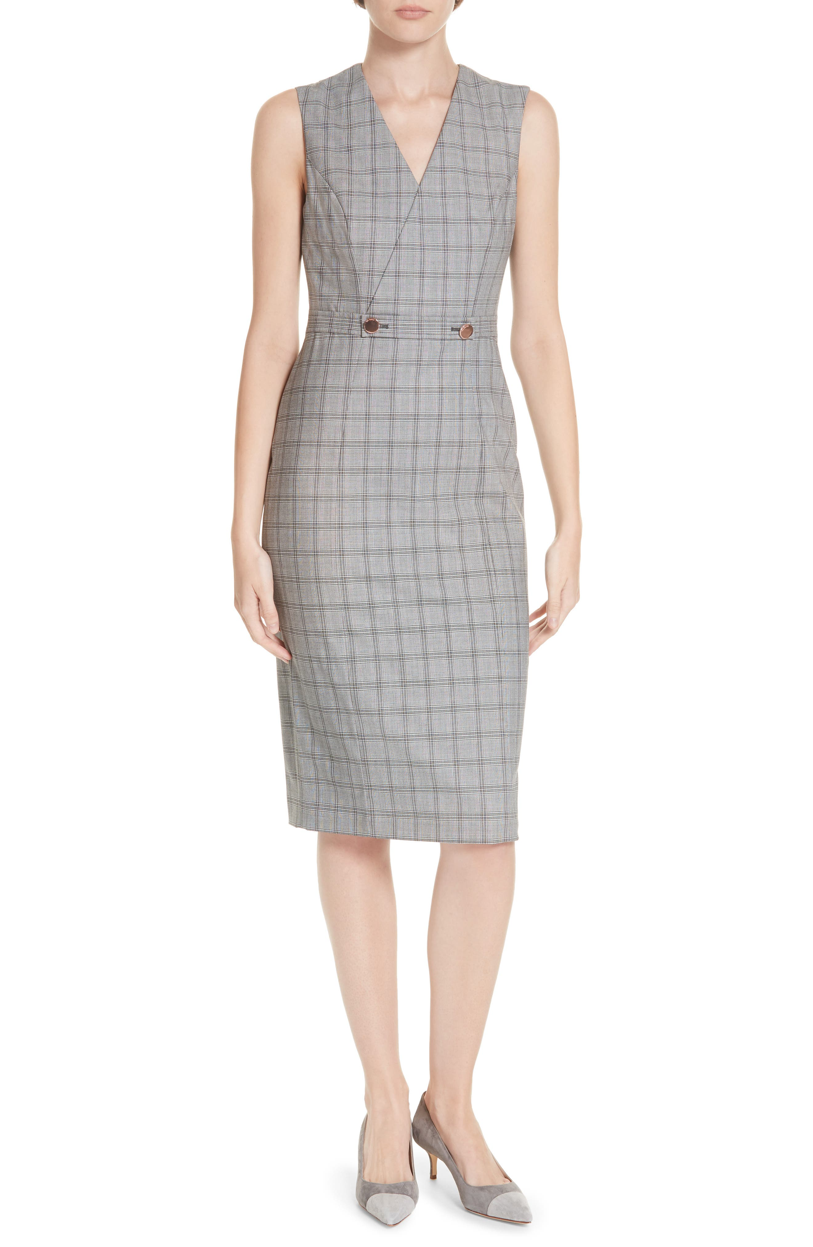 Ted Working Title Ristad Check Sheath Dress,                         Main,                         color, GREY