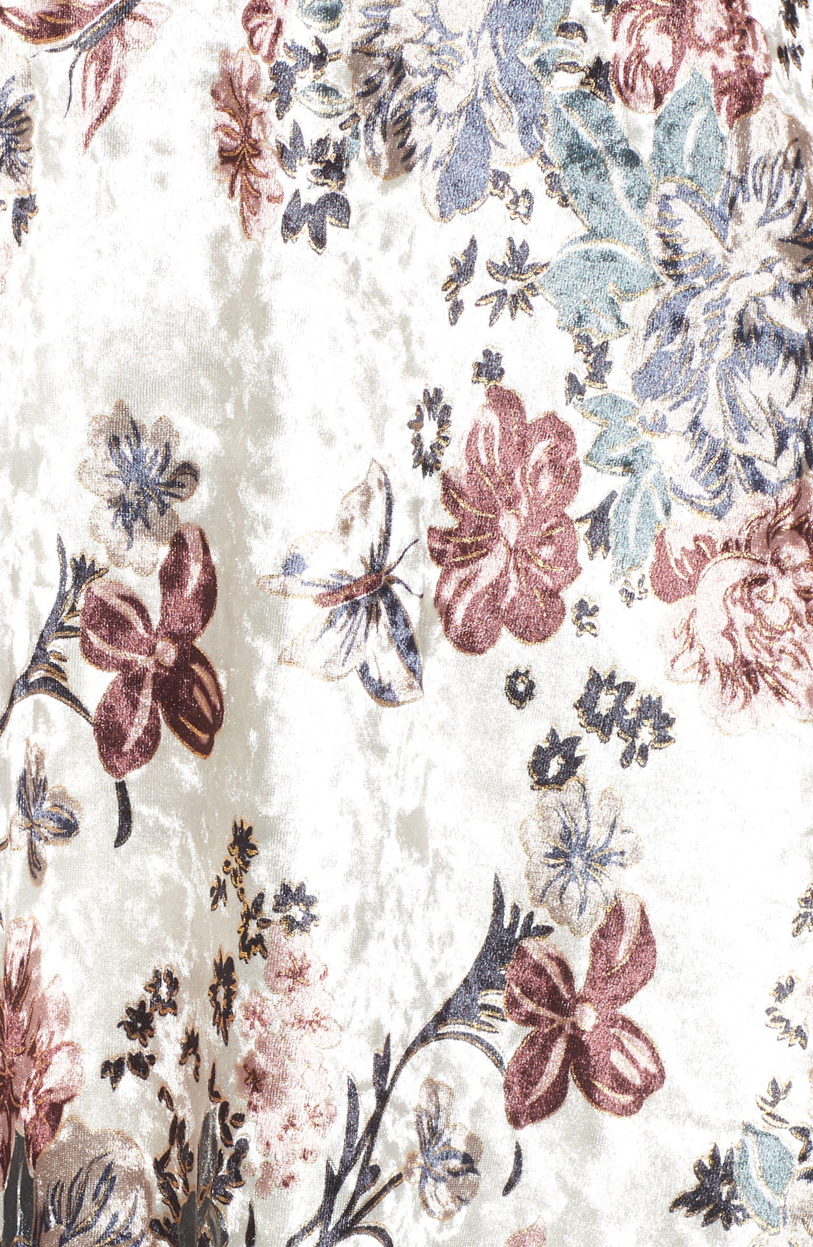 Melisa Floral Velvet & Lace Shift Dress,                             Alternate thumbnail 5, color,                             100