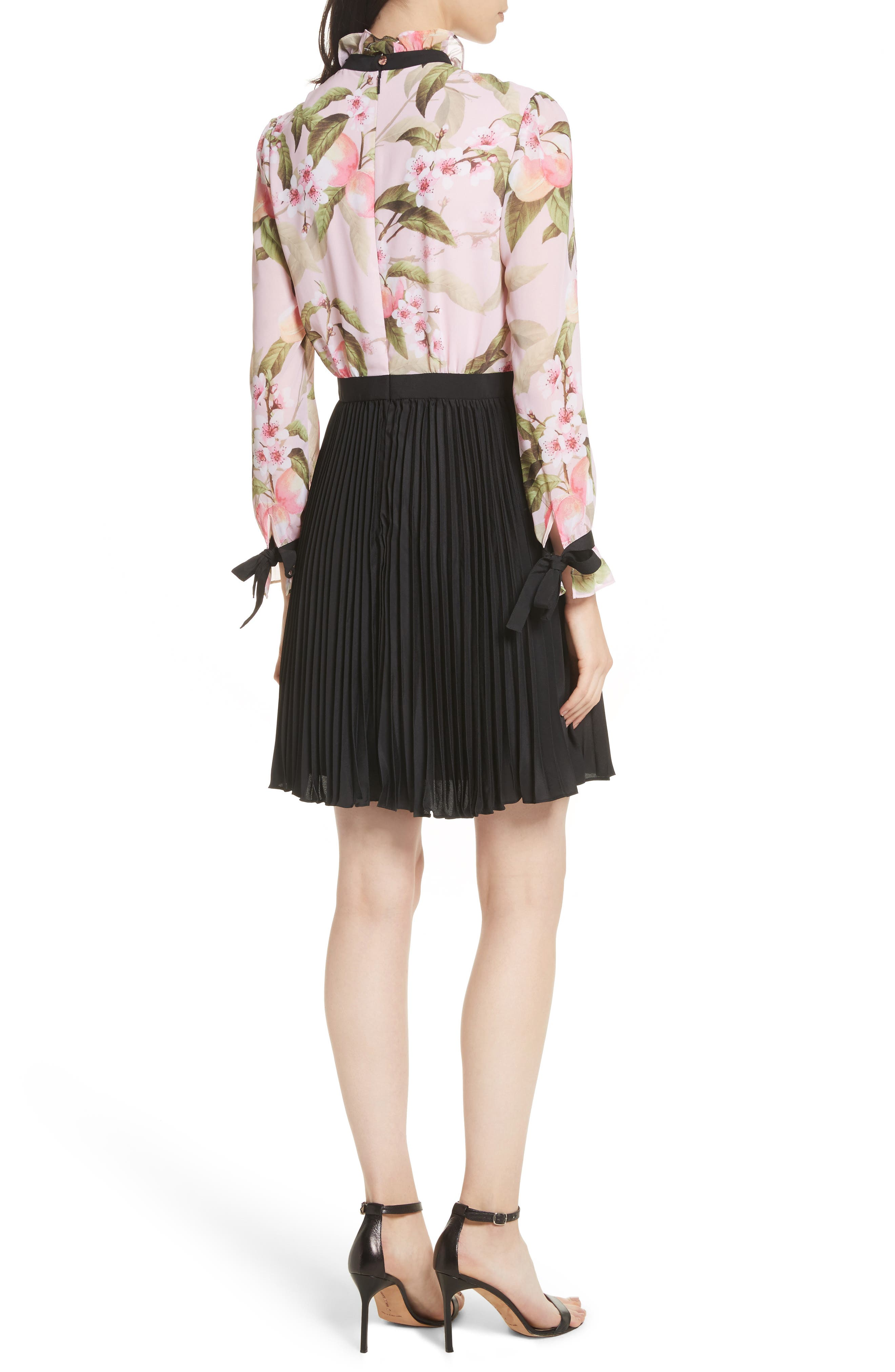 Peach Blossom Pleat Shirtdress,                             Alternate thumbnail 2, color,                             683