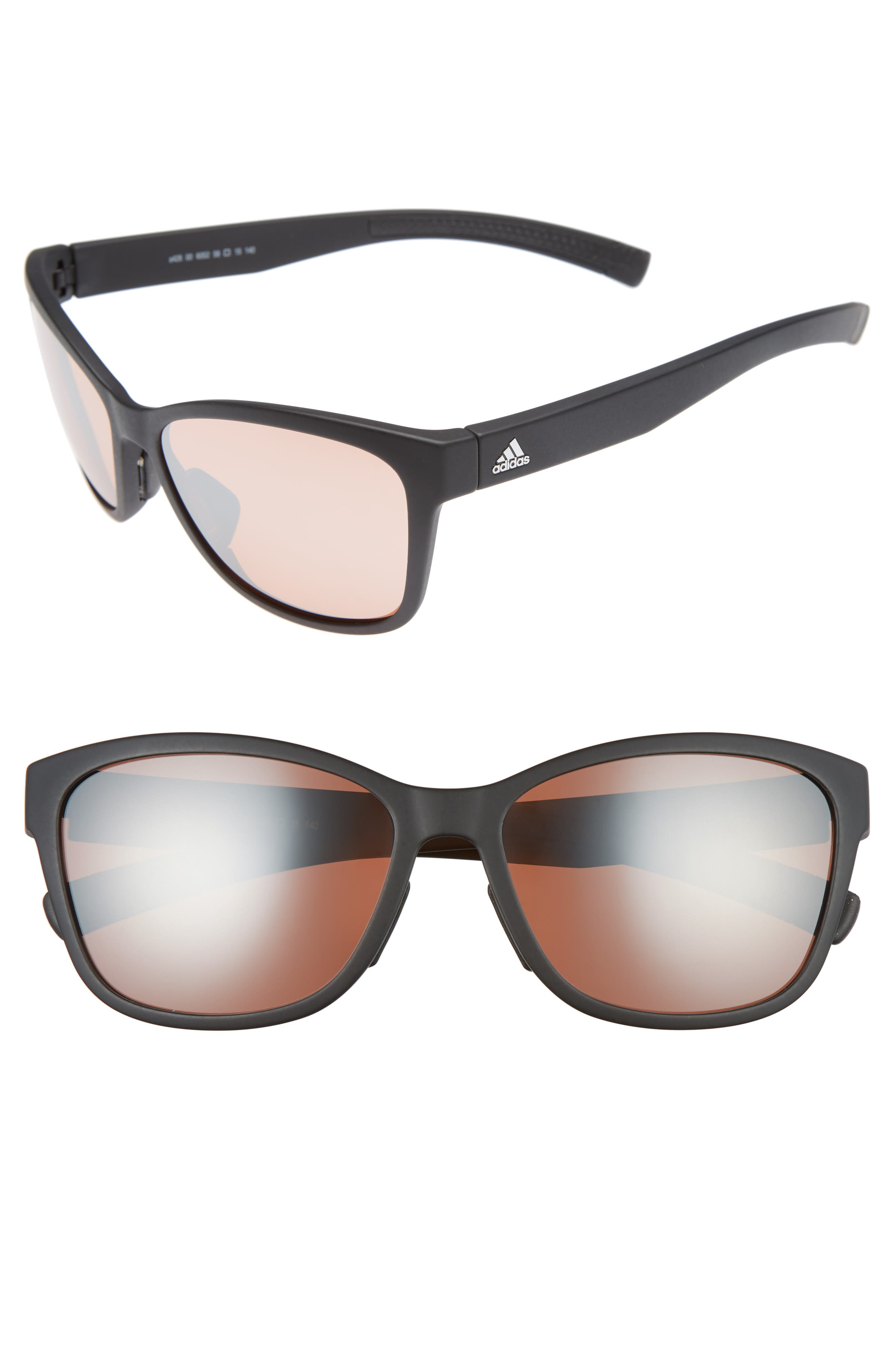 Excalate 58mm Mirrored Sunglasses,                         Main,                         color, BLACK MATTE/ TAUPE