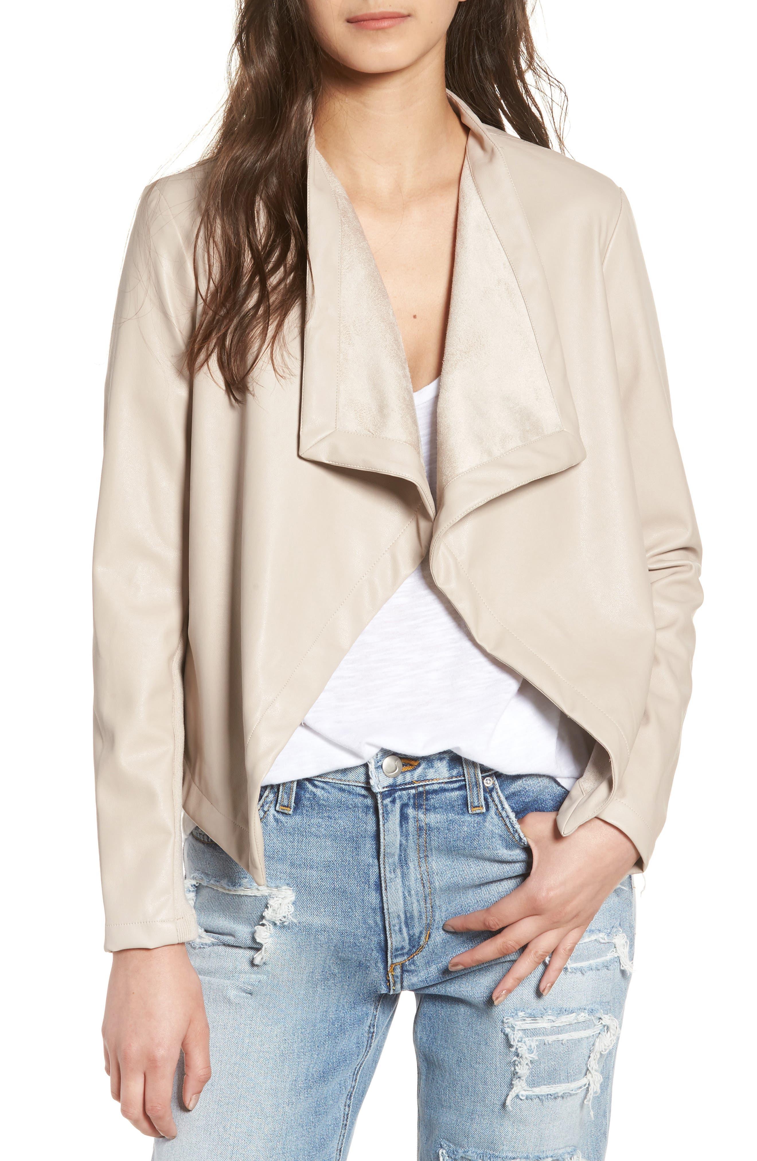'Peppin' Drape Front Faux Leather Jacket,                             Main thumbnail 5, color,