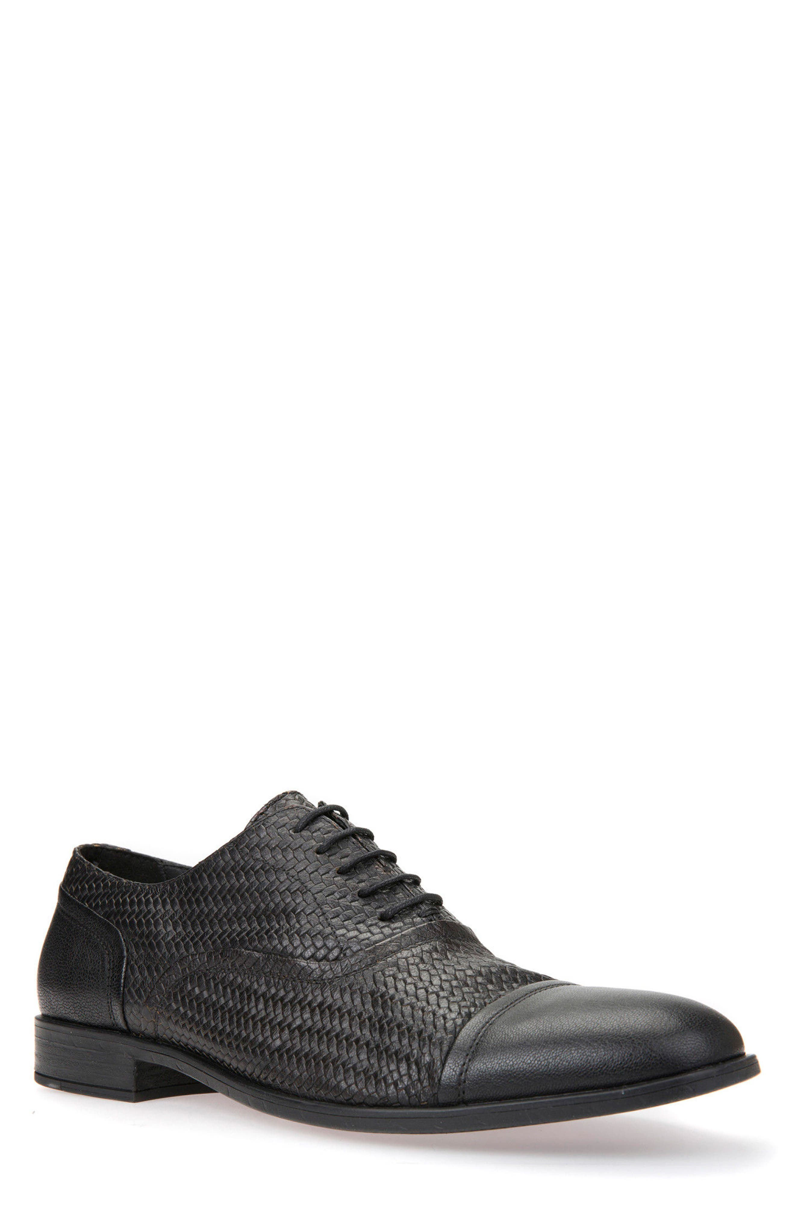 Bryceton Textured Cap Toe Oxford,                             Main thumbnail 1, color,                             BLACK LEATHER