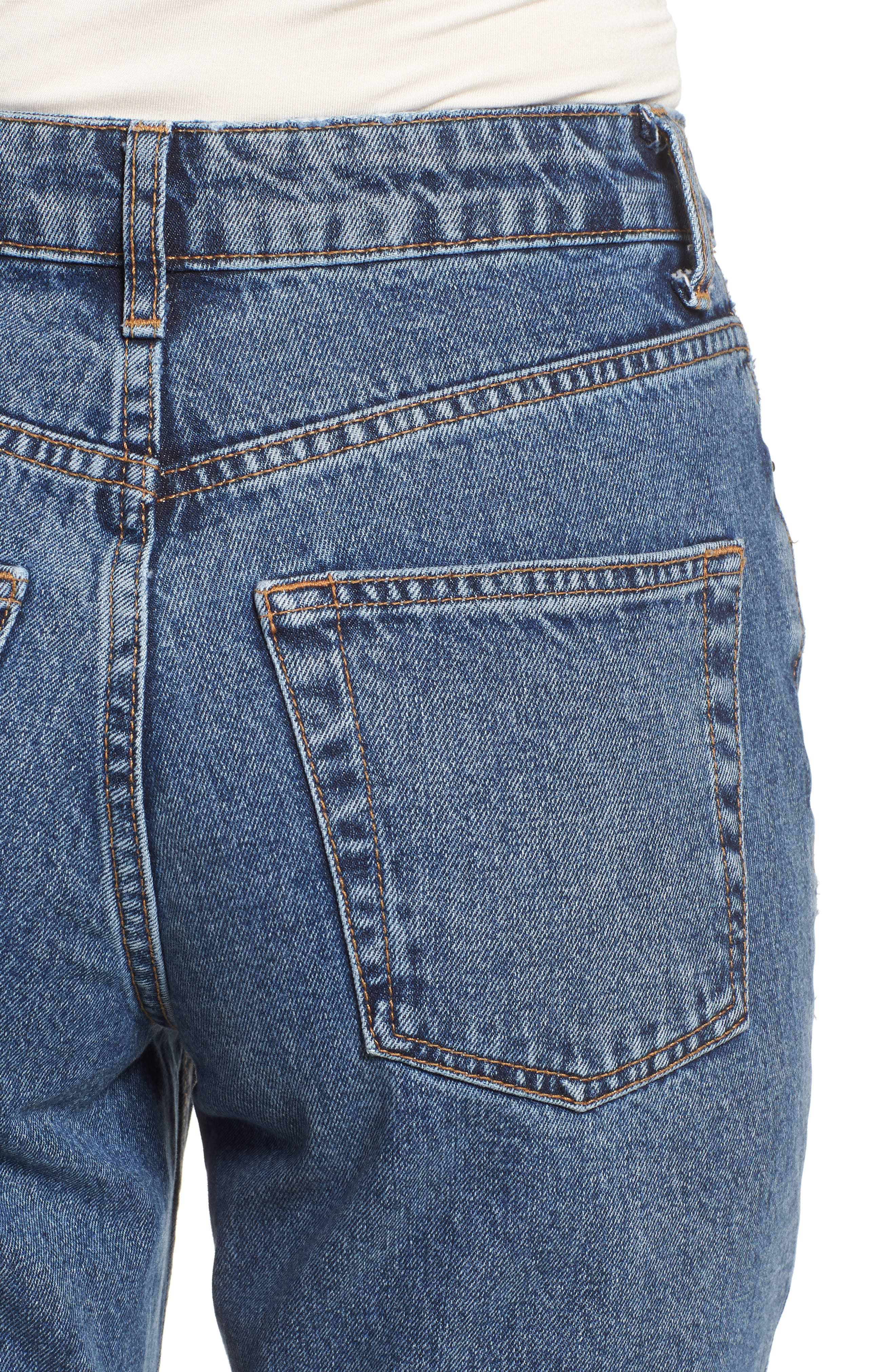 Petite Mid Denim Mom Jeans,                             Alternate thumbnail 4, color,                             MID DENIM