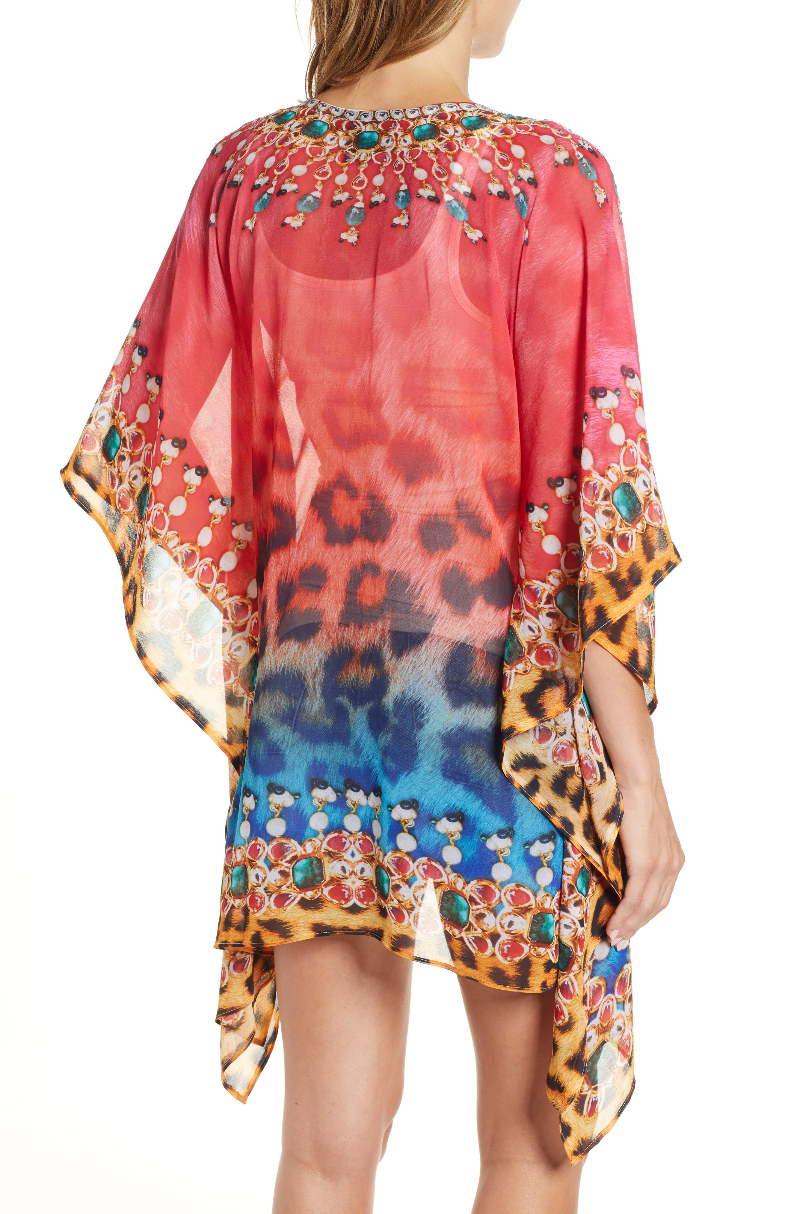 Positano Short Kaftan,                             Alternate thumbnail 2, color,                             RED/BLUE MULTI
