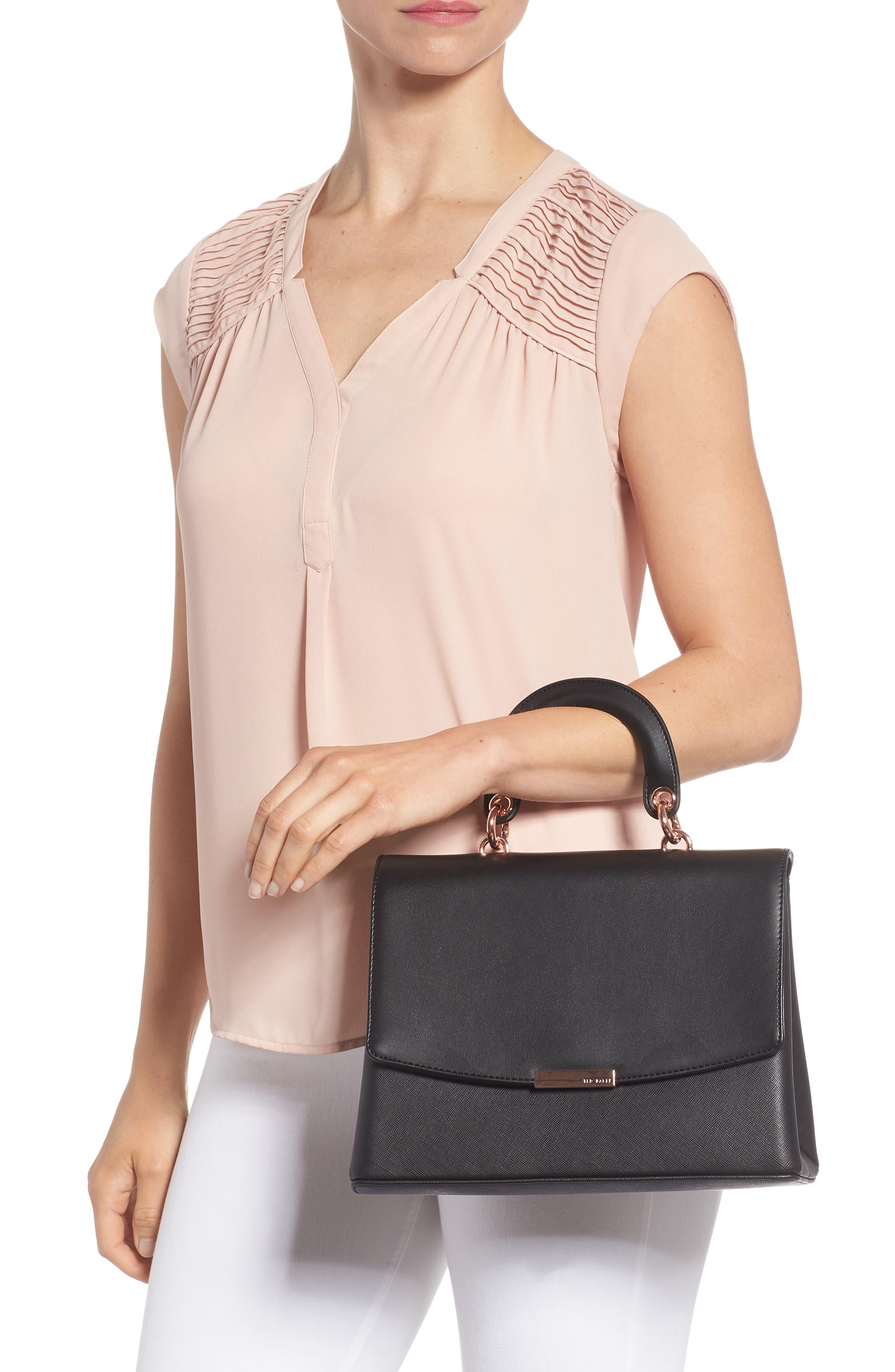 Keiira Lady Bag Faux Leather Top Handle Satchel,                             Alternate thumbnail 2, color,                             001
