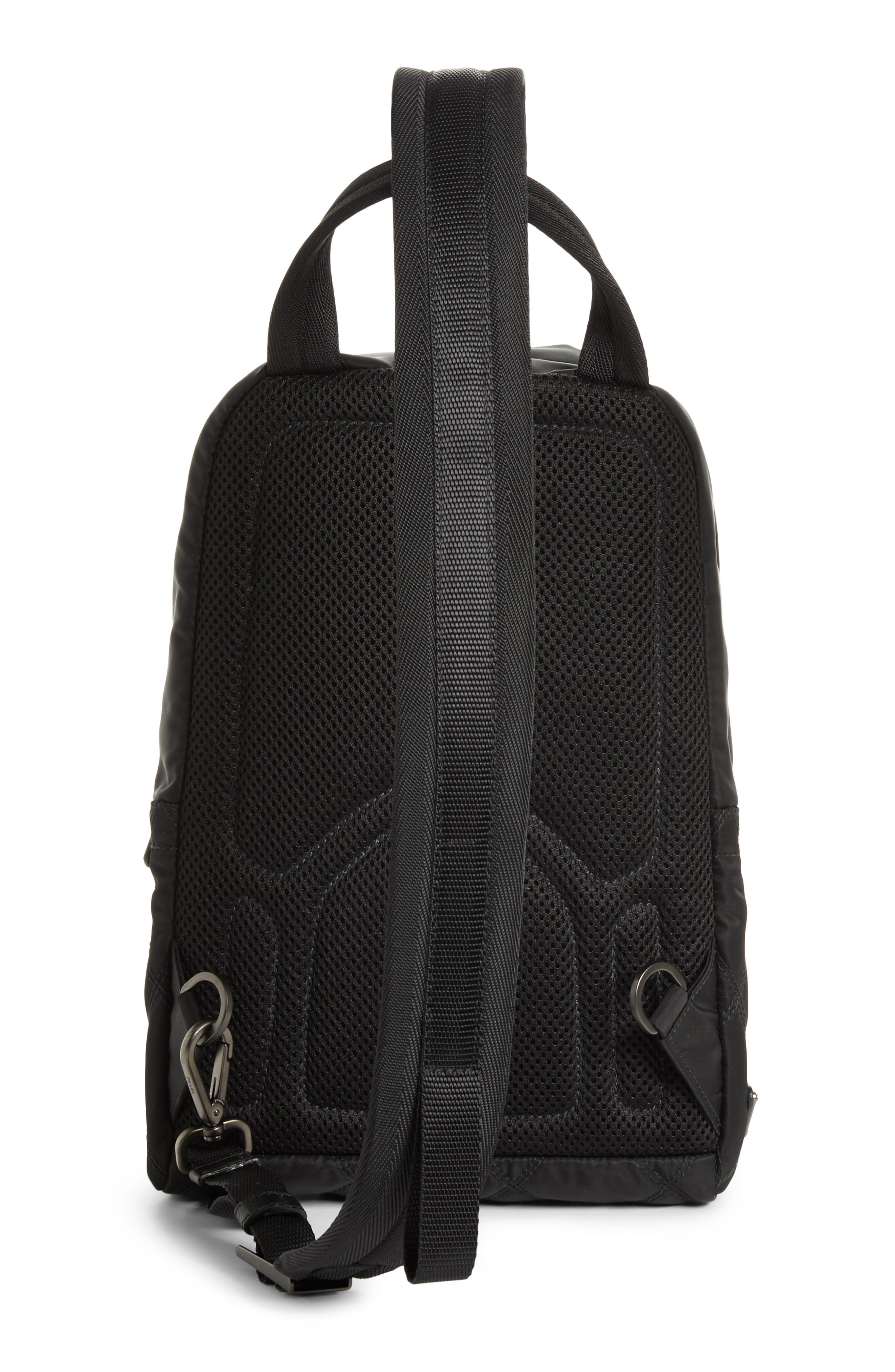 Quilted Crossbody Nylon Backpack,                             Alternate thumbnail 3, color,                             001