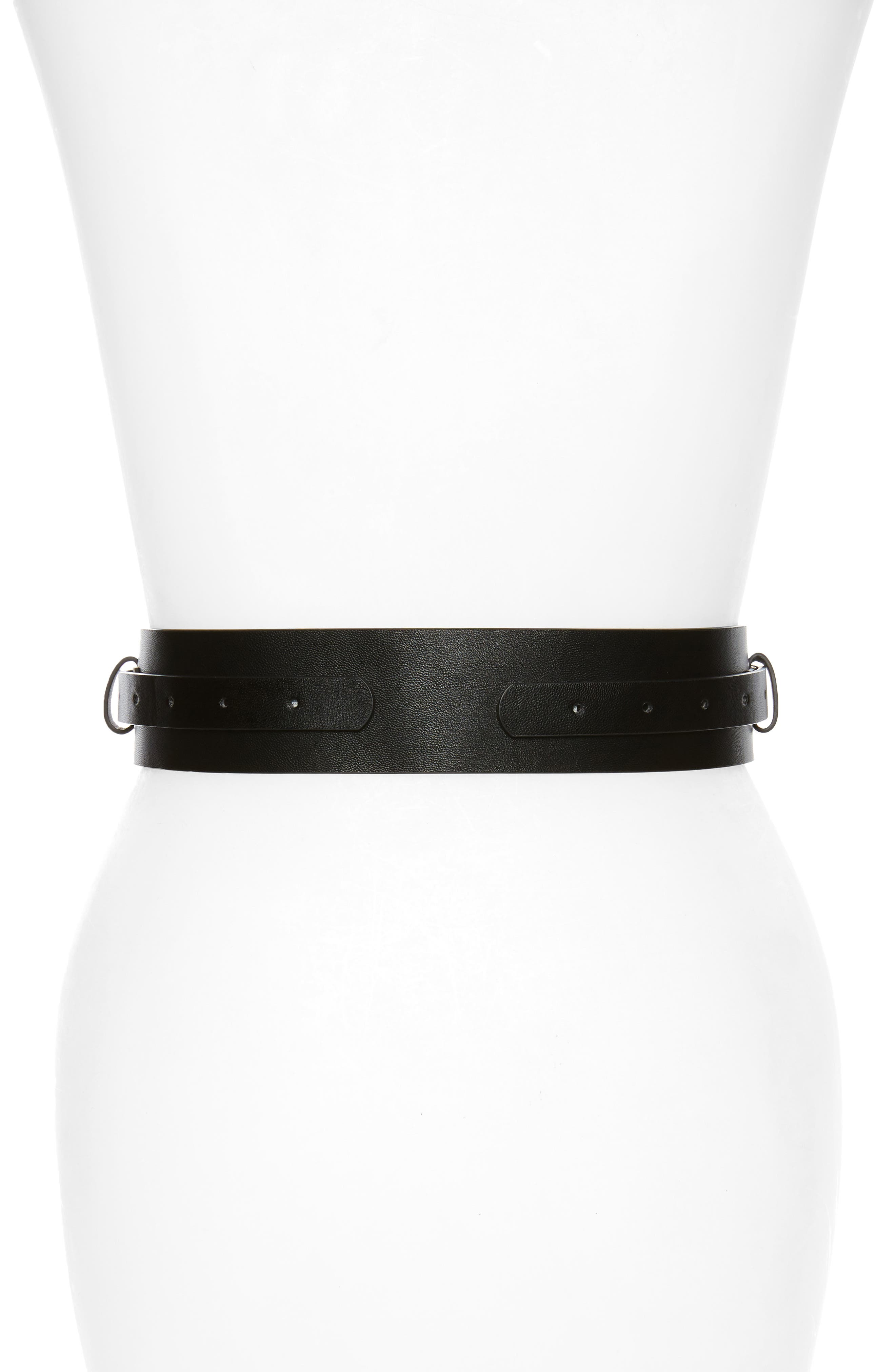 Accessory Collective Faux Leather Equestrian Belt,                             Alternate thumbnail 2, color,                             002