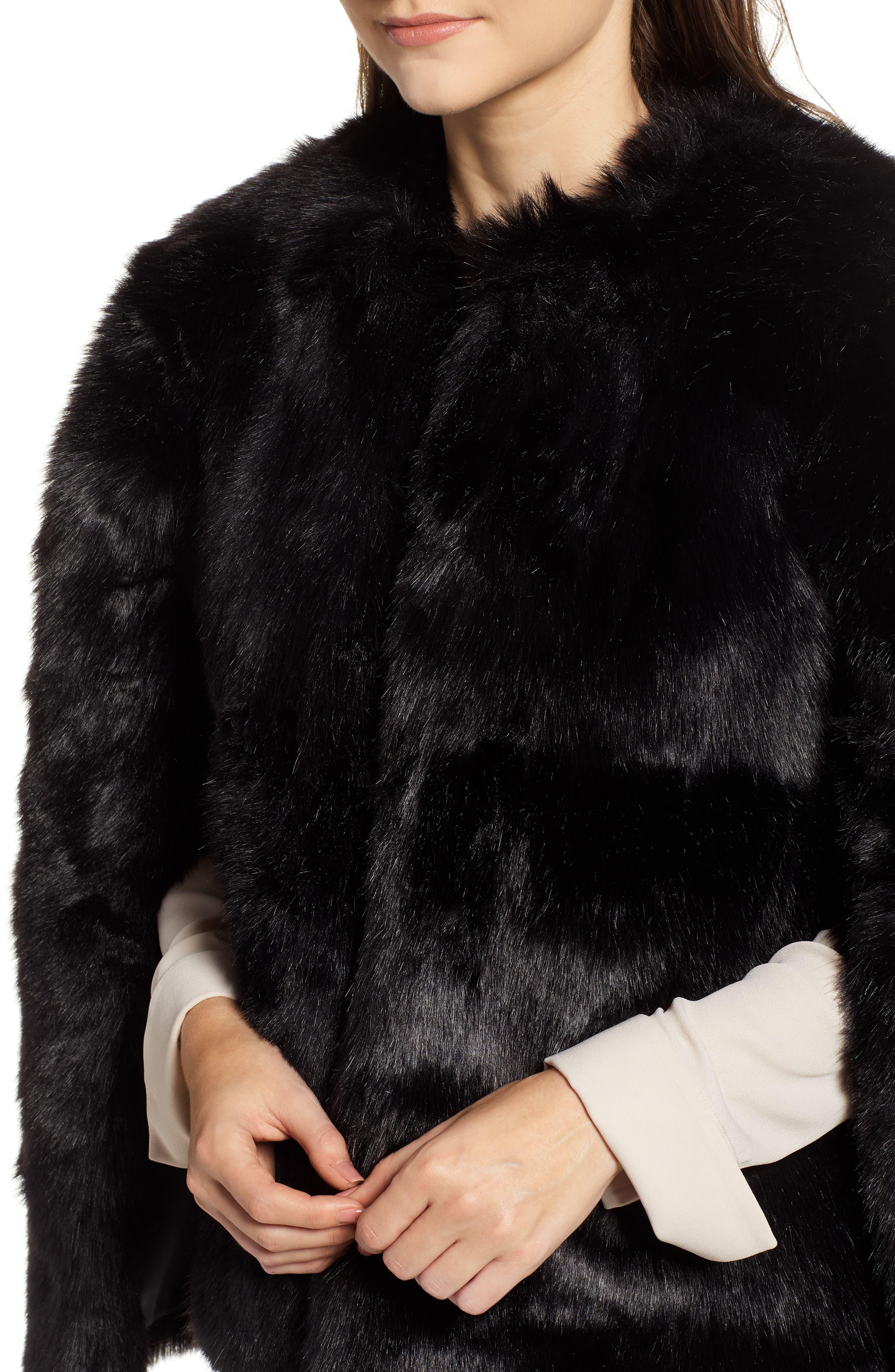Faux Fur Cape,                             Alternate thumbnail 4, color,                             BLACK SHORT FOX
