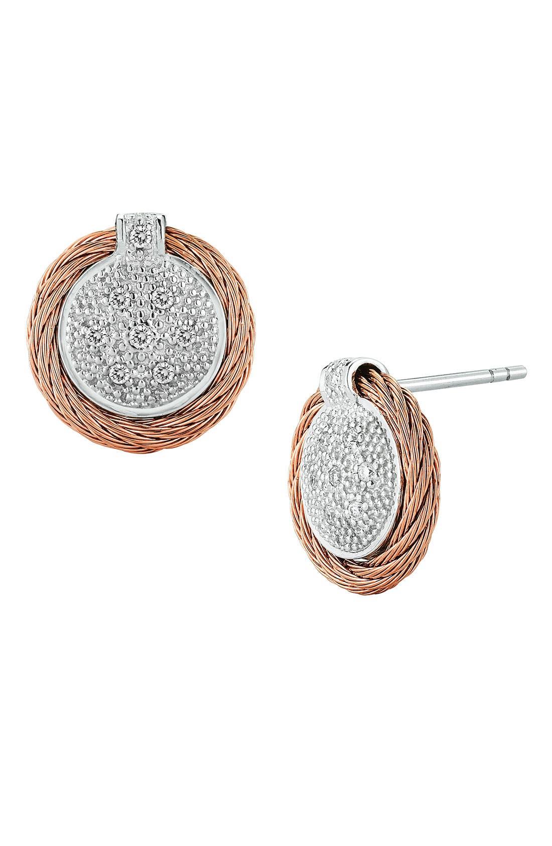 Diamond Button Earrings,                             Main thumbnail 6, color,