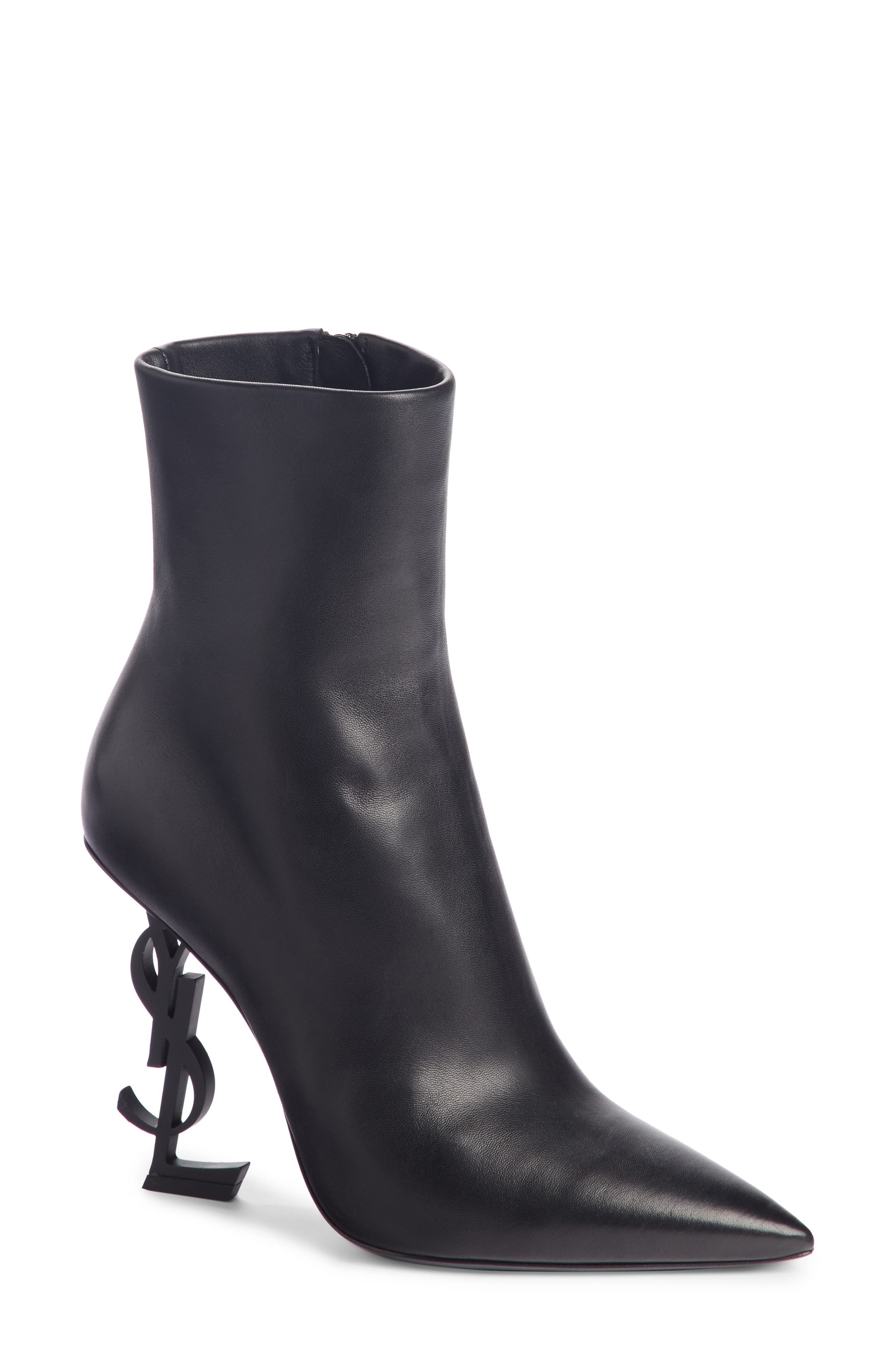Opyum YSL Bootie,                             Main thumbnail 1, color,                             BLACK LEATHER