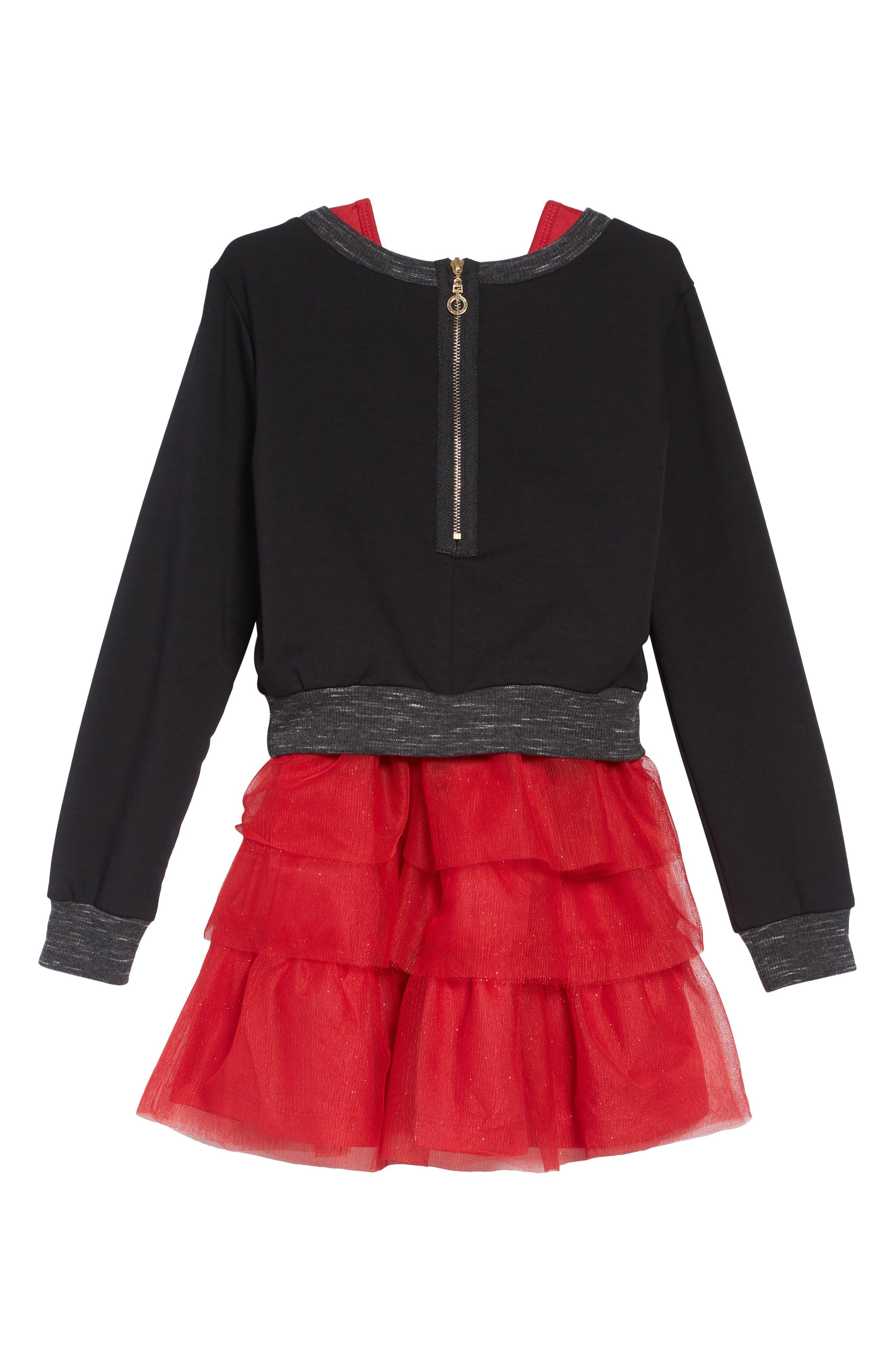 Believe Sequin Appliqué Sweatshirt & Tulle Dress Set,                             Alternate thumbnail 2, color,                             BLACK RED