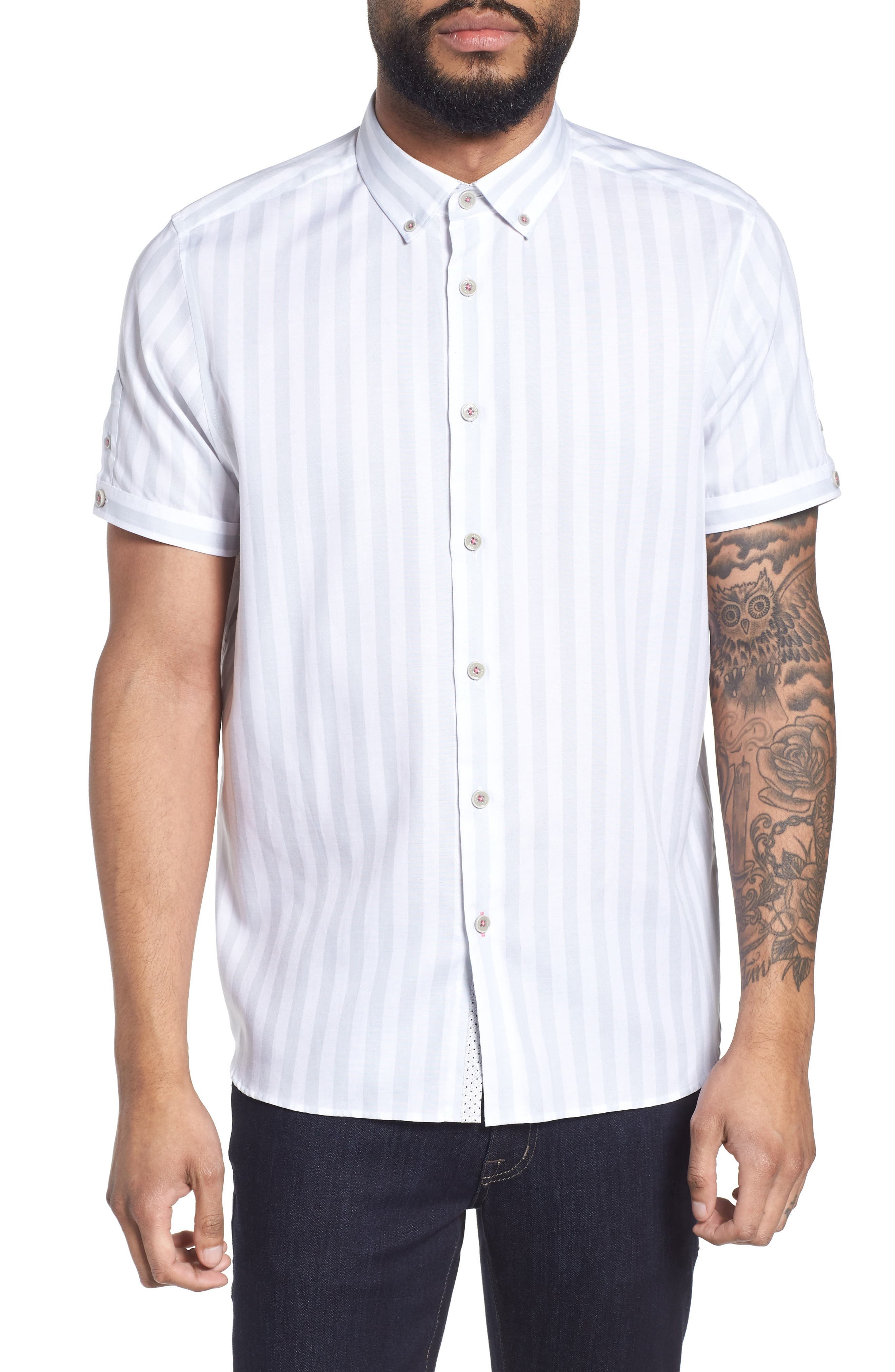 TED BAKER LONDON Vertical Stripe Trim Fit Short Sleeve Sport Shirt, Main, color, 311