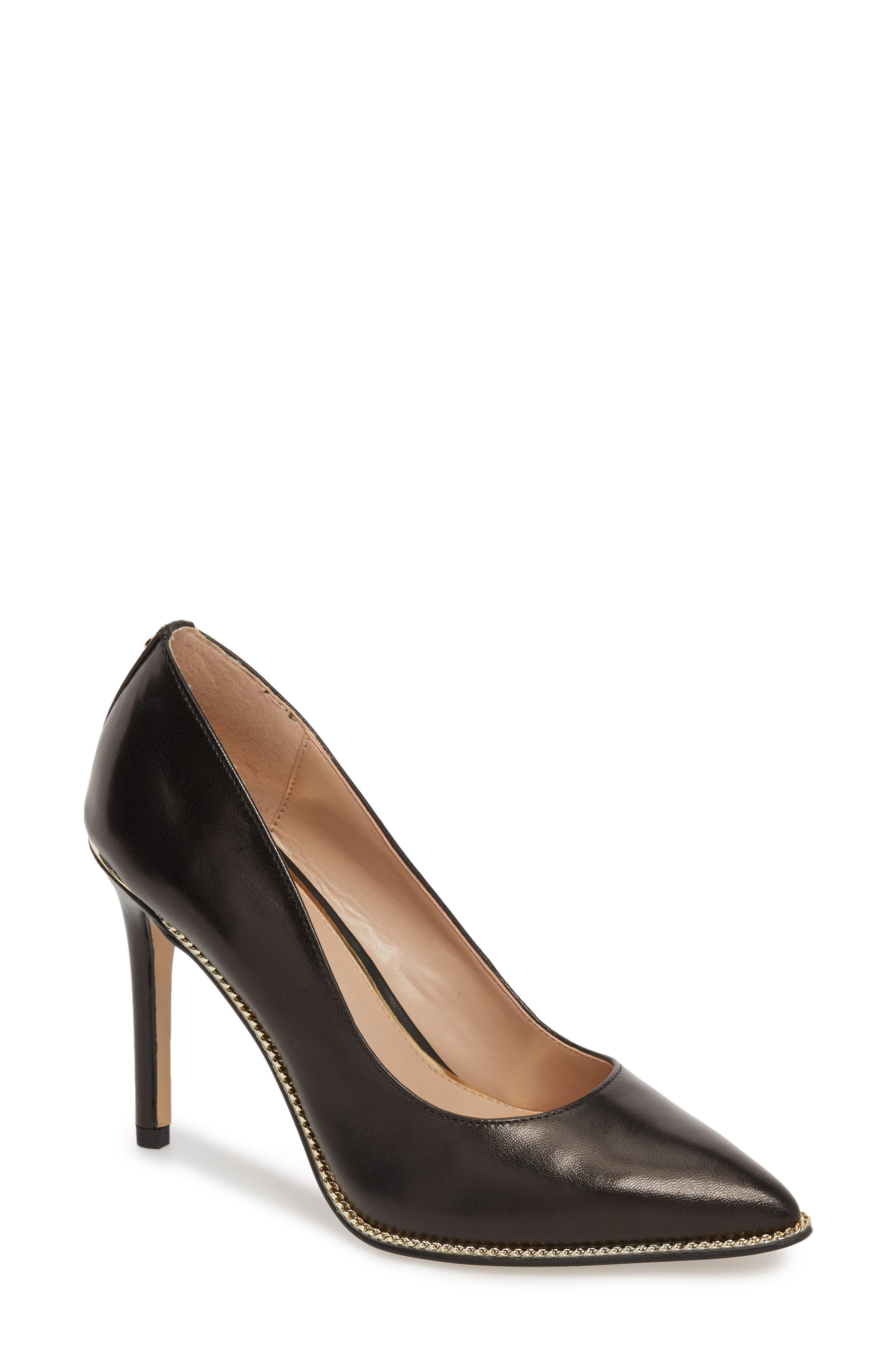 Harleigh Pointy Toe Pump,                             Main thumbnail 1, color,                             BLACK LEATHER