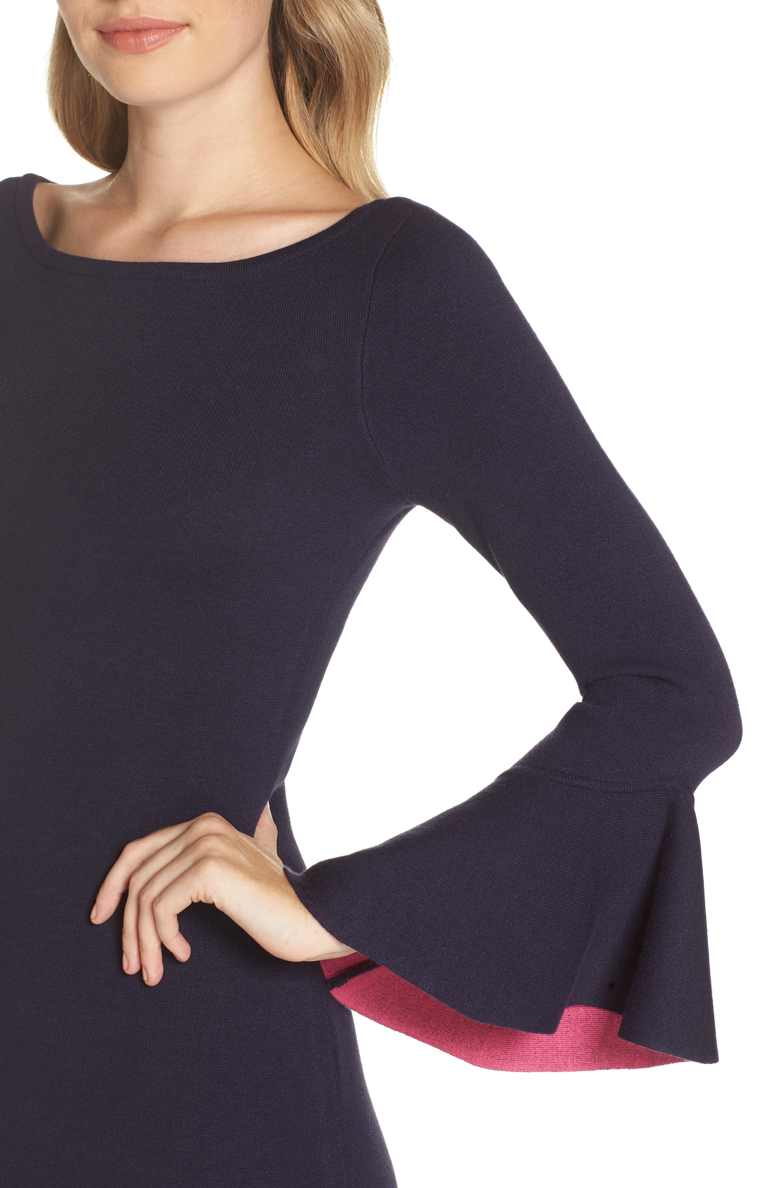 Bell Sleeve Midi Sweater Dress,                             Alternate thumbnail 4, color,                             NAVY