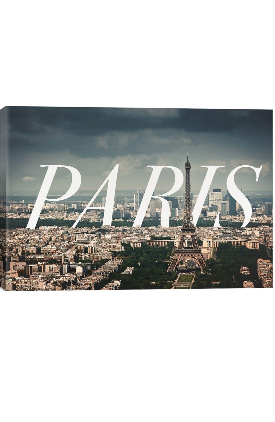 'Paris' Giclée Print Canvas Art,                             Main thumbnail 1, color,                             GREY