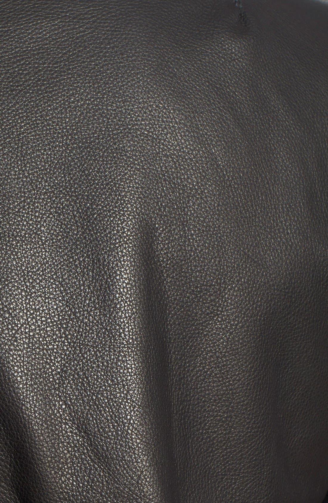 'MA-1' Slim Fit Leather Jacket,                             Alternate thumbnail 3, color,                             001