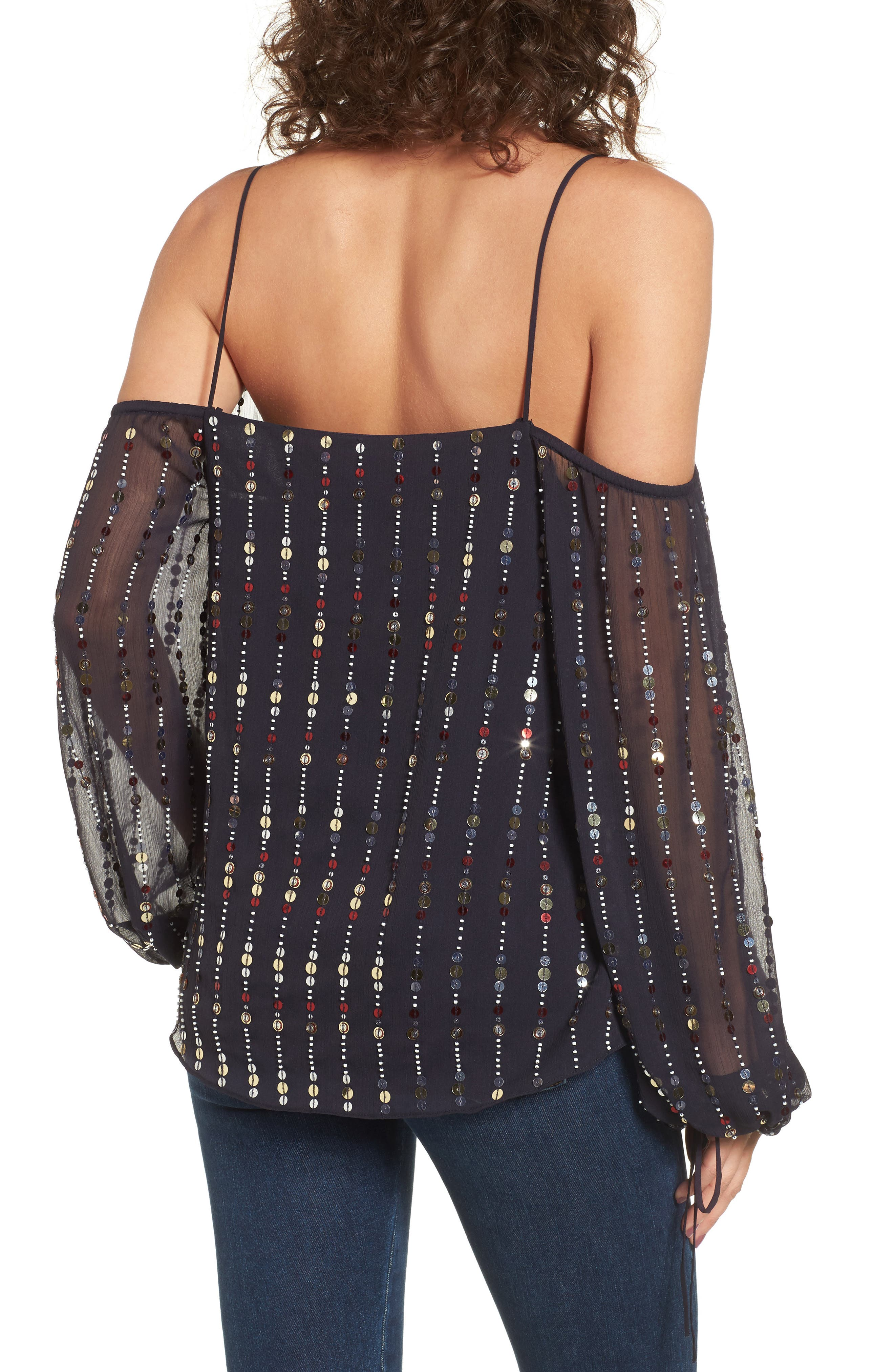 Cleo Sequin Date Night Blouse,                             Alternate thumbnail 2, color,                             410