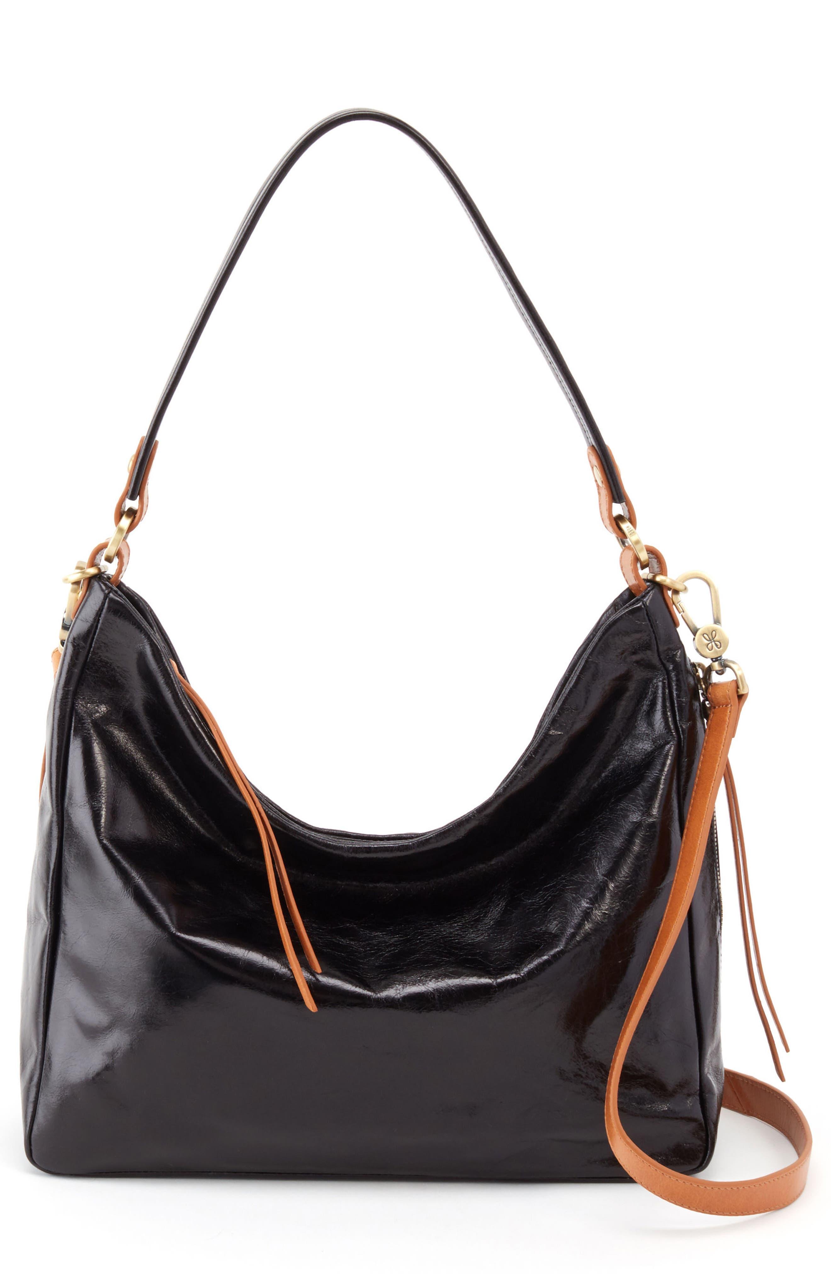 Delilah Convertible Hobo Bag,                         Main,                         color, BLACK