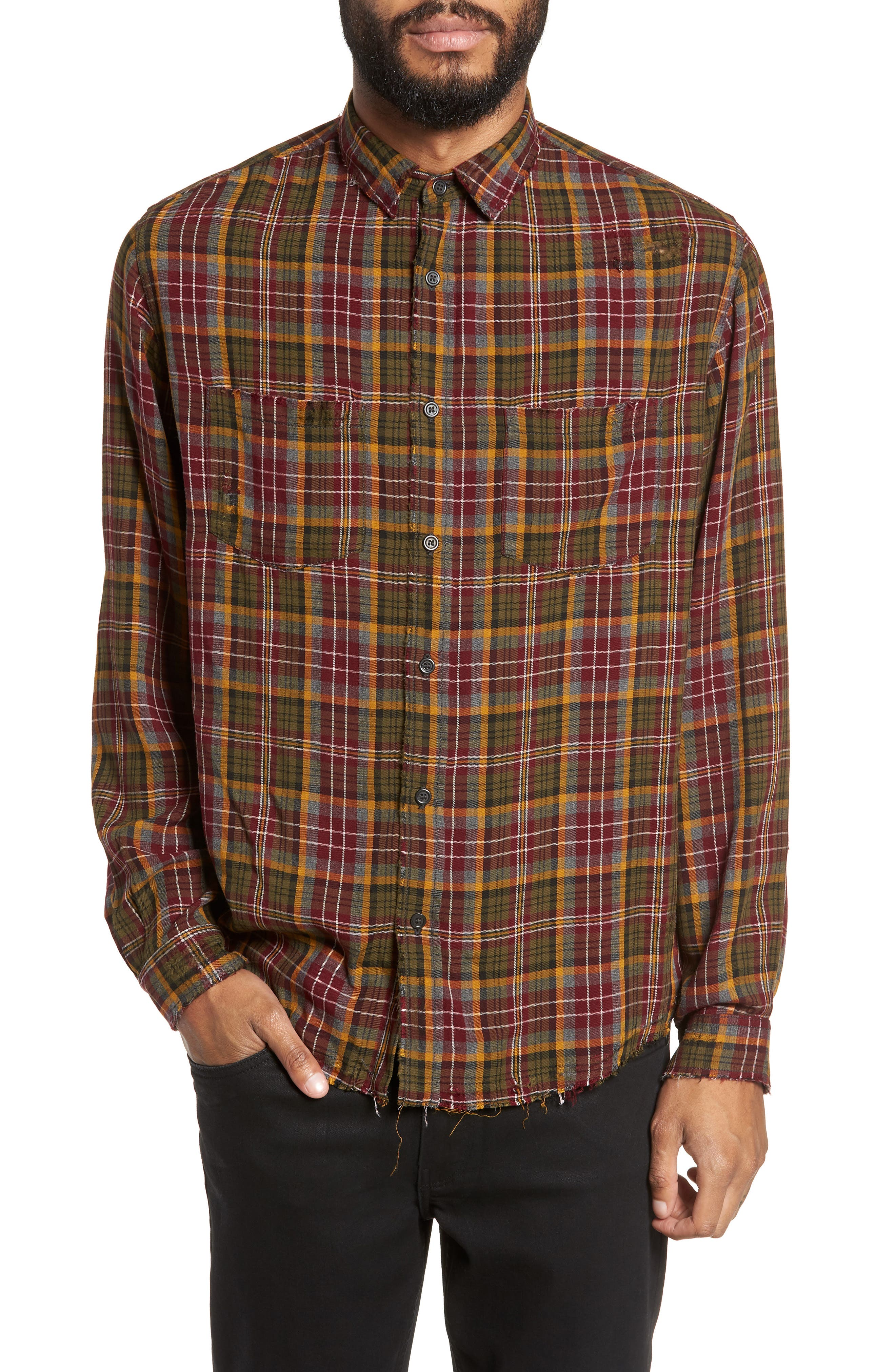 THE KOOPLES Long Sleeve Destroyed Plaid Regular Fit Sport Shirt in Red