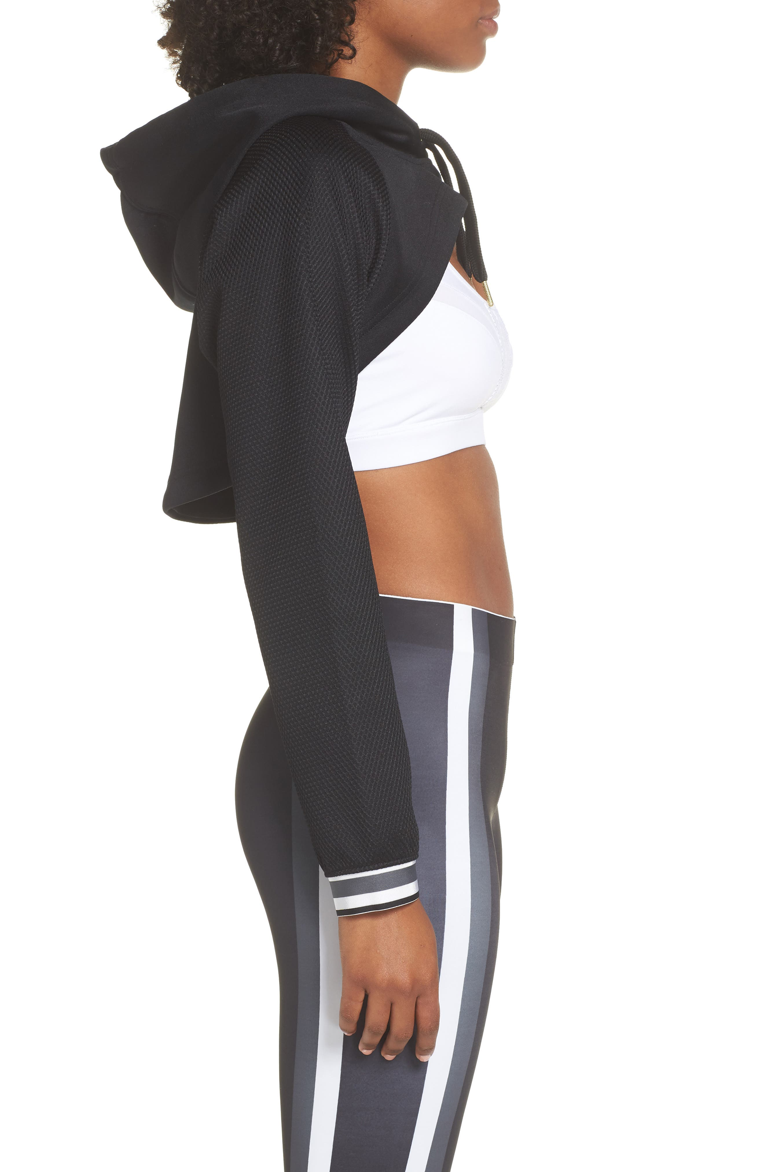 Varsity Cropped Cover-Up Hoodie,                             Alternate thumbnail 3, color,                             001
