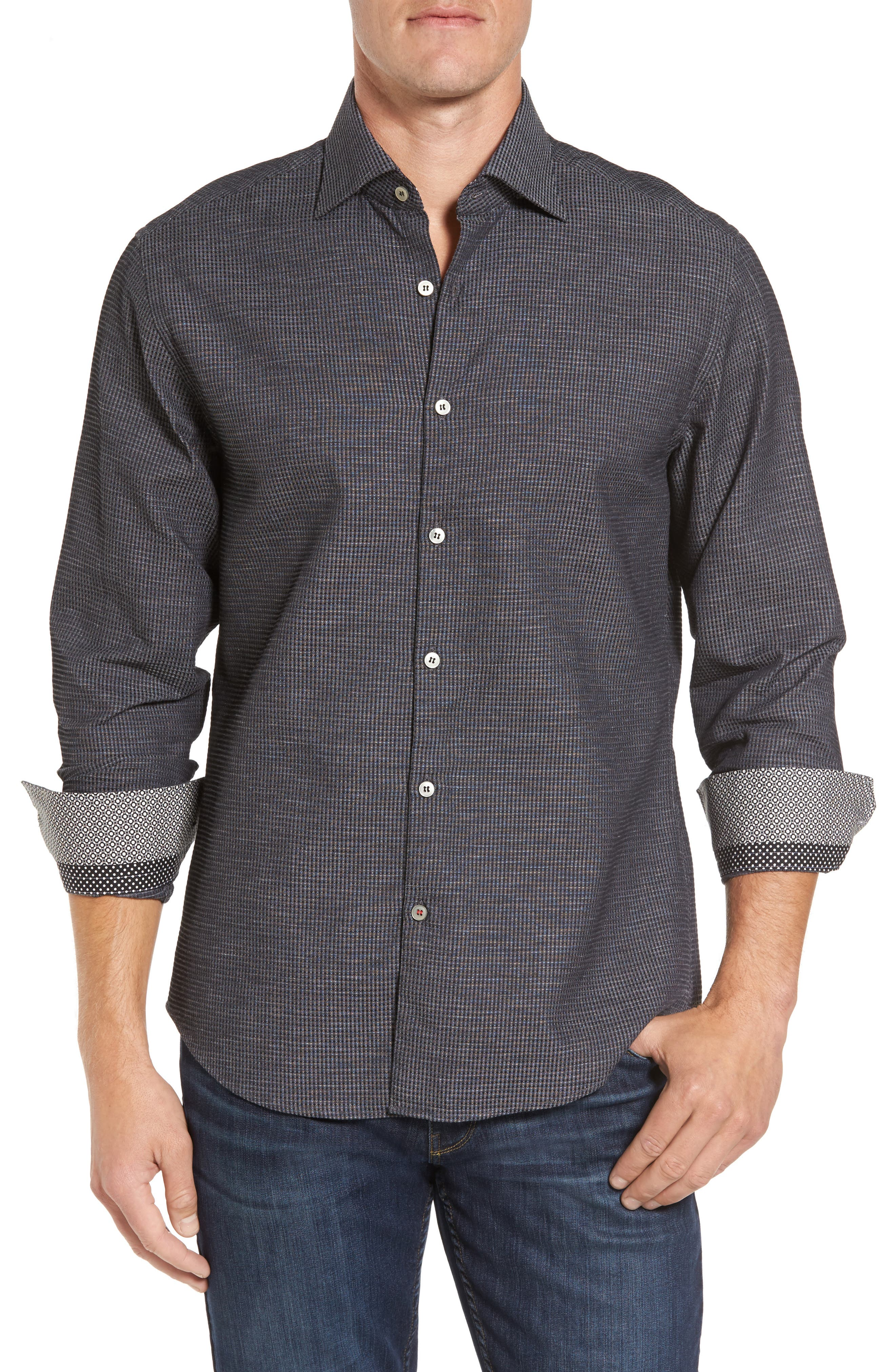 Slim Fit Waffle Texture Sport Shirt,                         Main,                         color, 010
