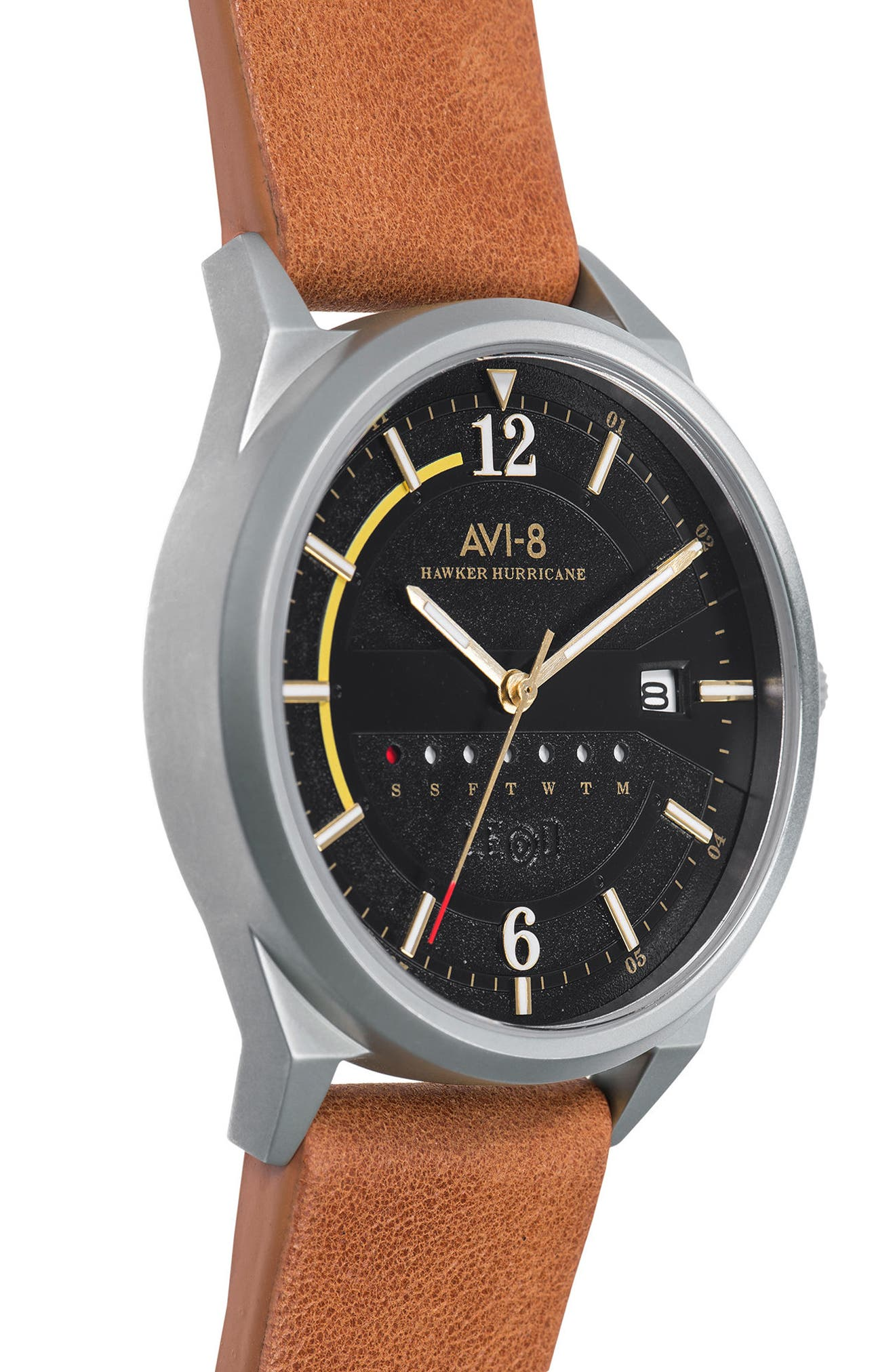 Hawker Hurricane Leather Strap Watch, 38mm,                             Alternate thumbnail 3, color,                             200