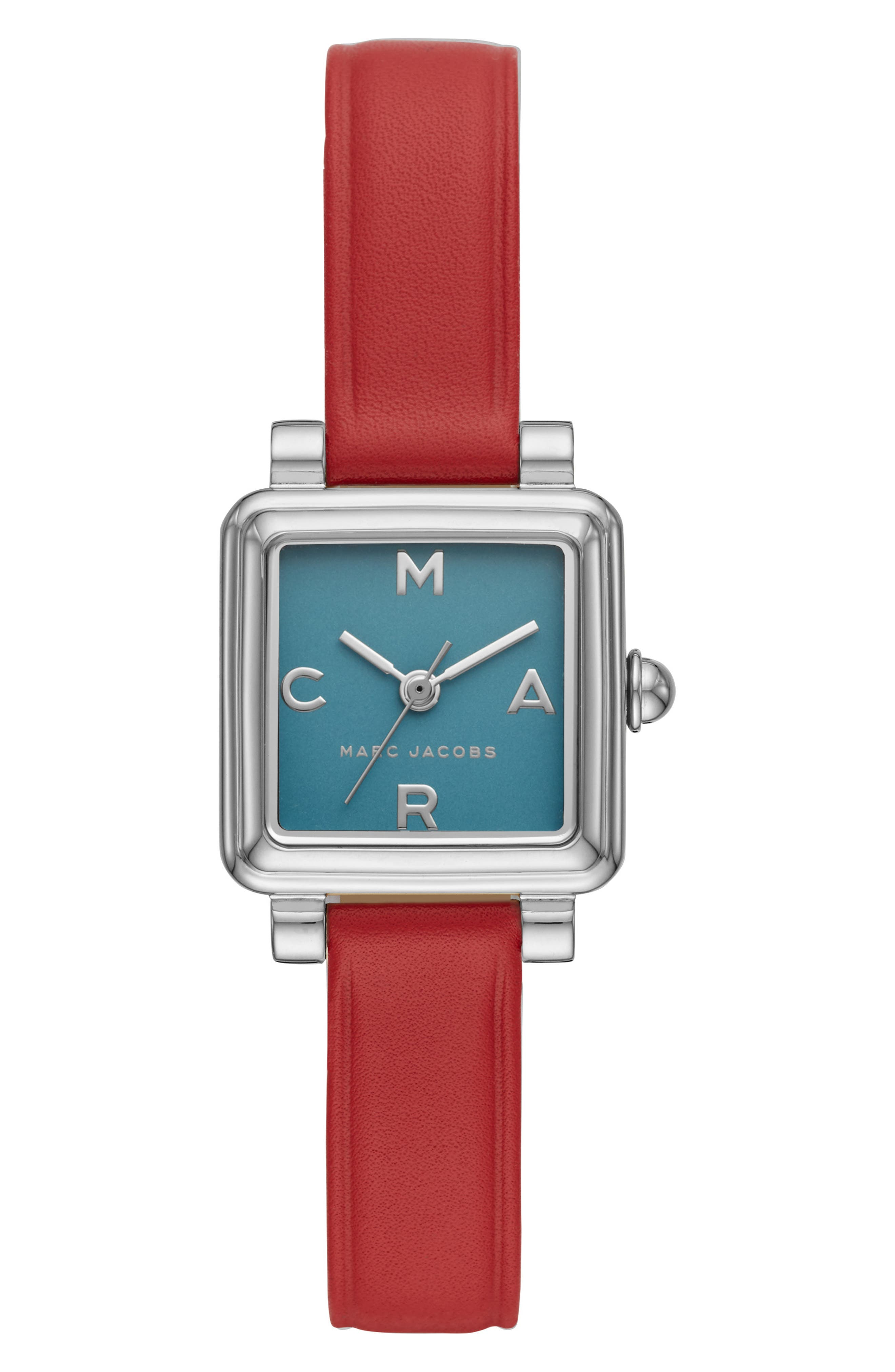 Vic Leather Strap Watch, 20mm,                         Main,                         color, RED/ BLUE/ SILVER