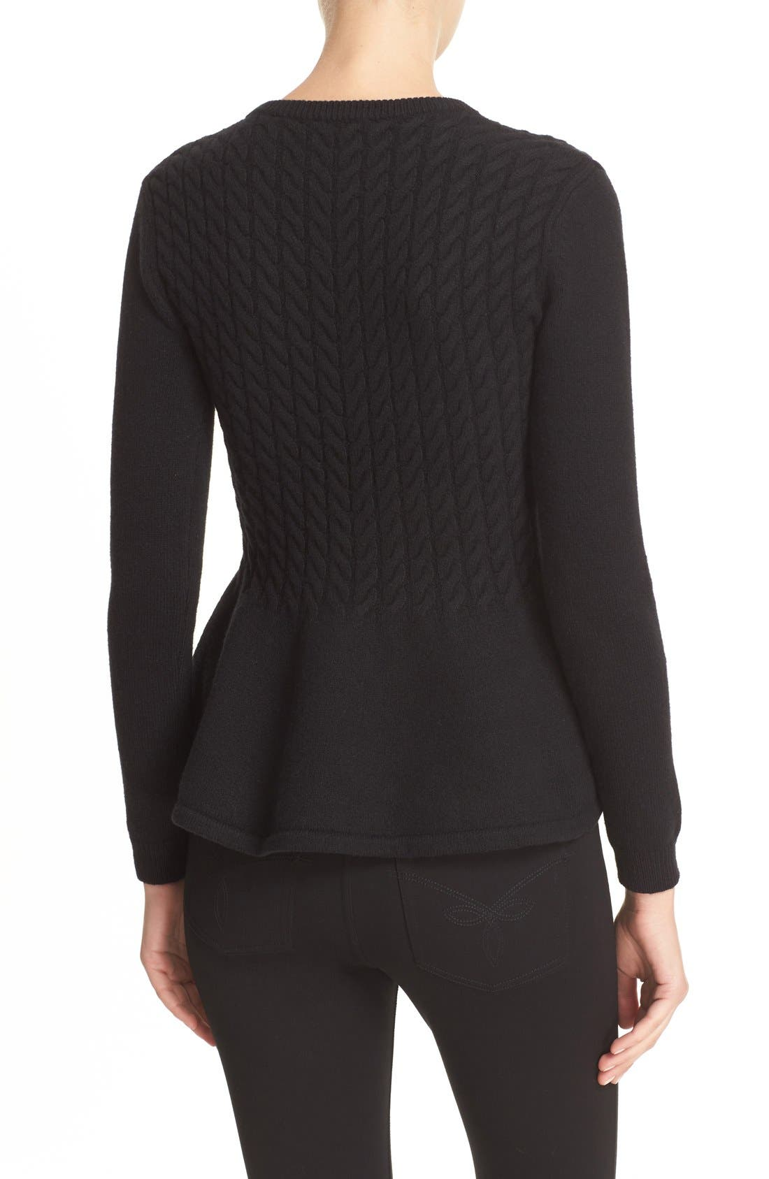 TED BAKER LONDON,                             'Mereda' Cable Knit Peplum Sweater,                             Alternate thumbnail 2, color,                             001